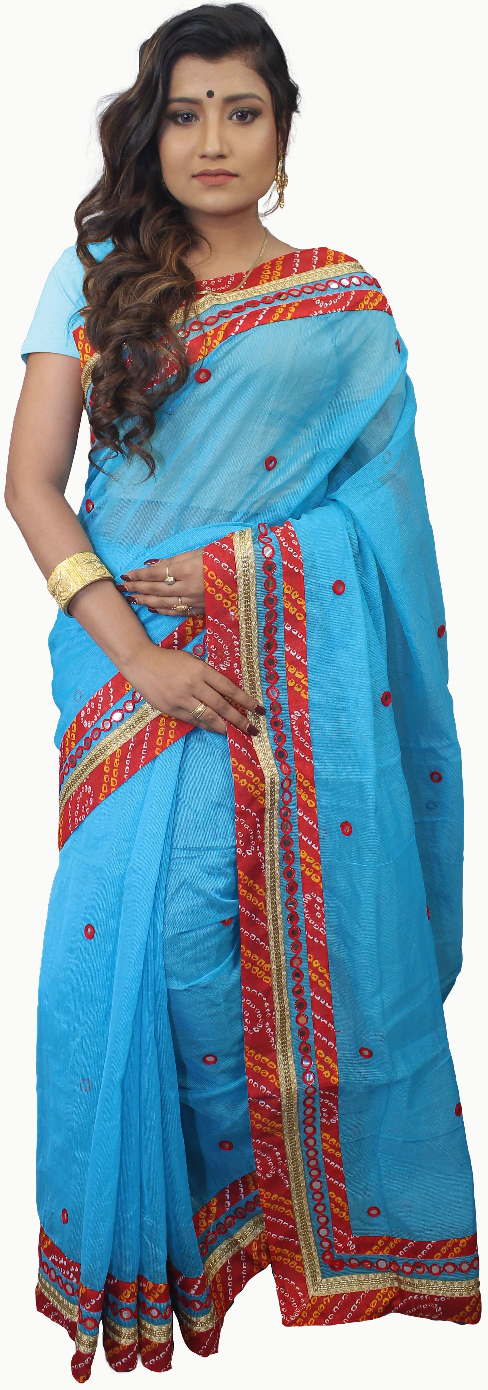 SMSAREE Blue Designer Wedding Partywear Supernet (Cotton) Thread Mirror & Zari Hand Embroidery Work Bridal Saree Sari With Blouse Piece E652