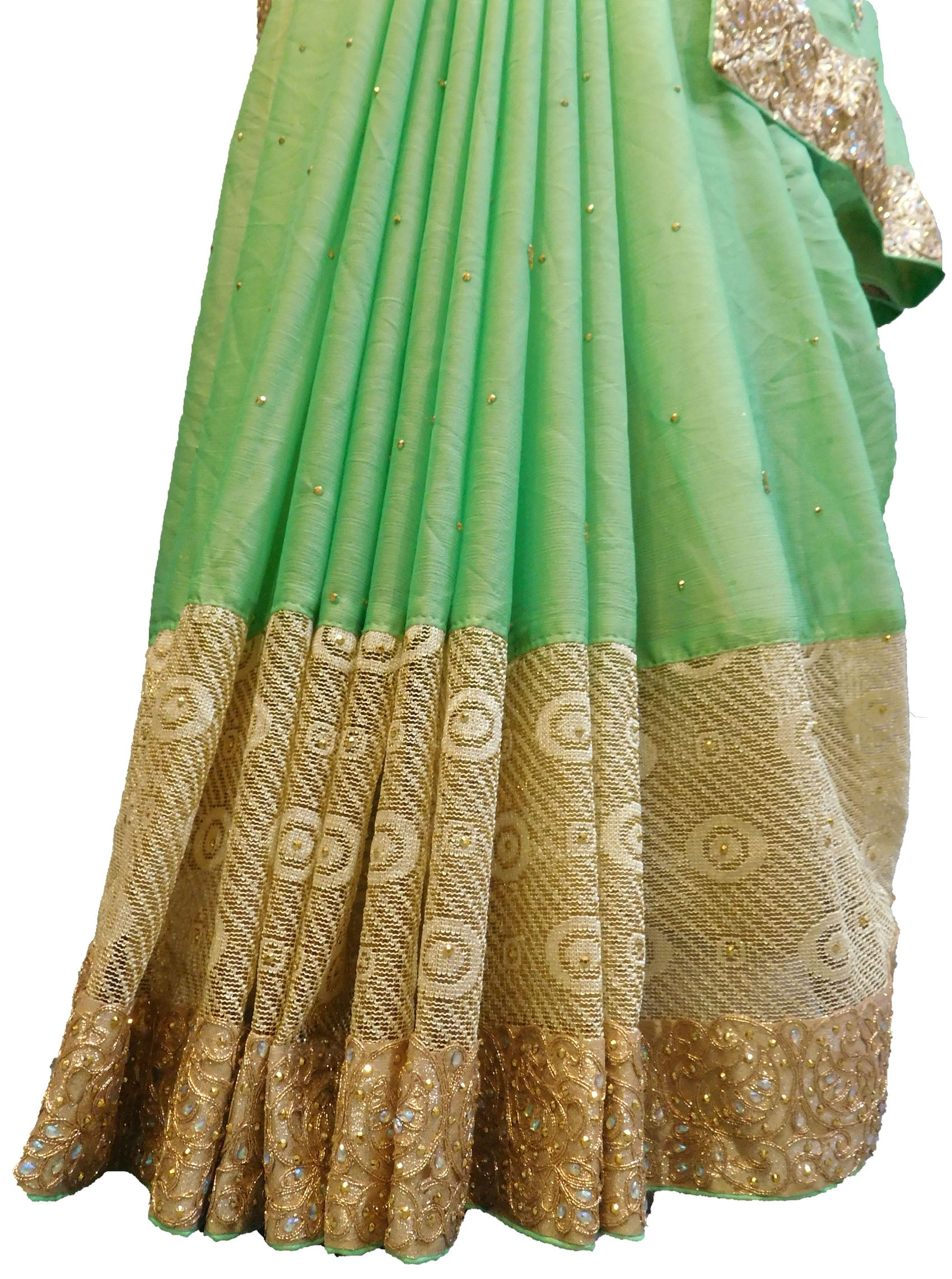 SMSAREE Green Designer Wedding Partywear Georgette Zari & Stone Hand Embroidery Work Bridal Saree Sari With Blouse Piece E658