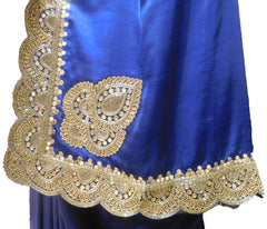 SMSAREE Blue Designer Wedding Partywear Satin Silk Zari Stone Mirror Beads Bullion & Cutdana Hand Embroidery Work Bridal Saree Sari With Blouse Piece E669