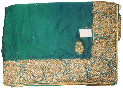SMSAREE Turquoise Designer Wedding Partywear Pure Satin Silk Stone & Bullion Hand Embroidery Work Bridal Saree Sari With Blouse Piece E673