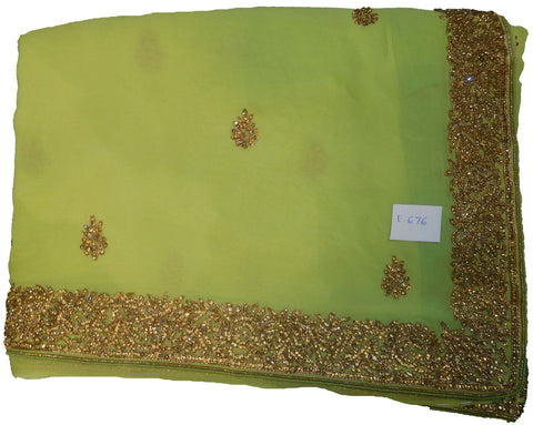 SMSAREE Green Designer Wedding Partywear Georgette (Viscos) Stone & Bullion Hand Embroidery Work Bridal Saree Sari With Blouse Piece E676