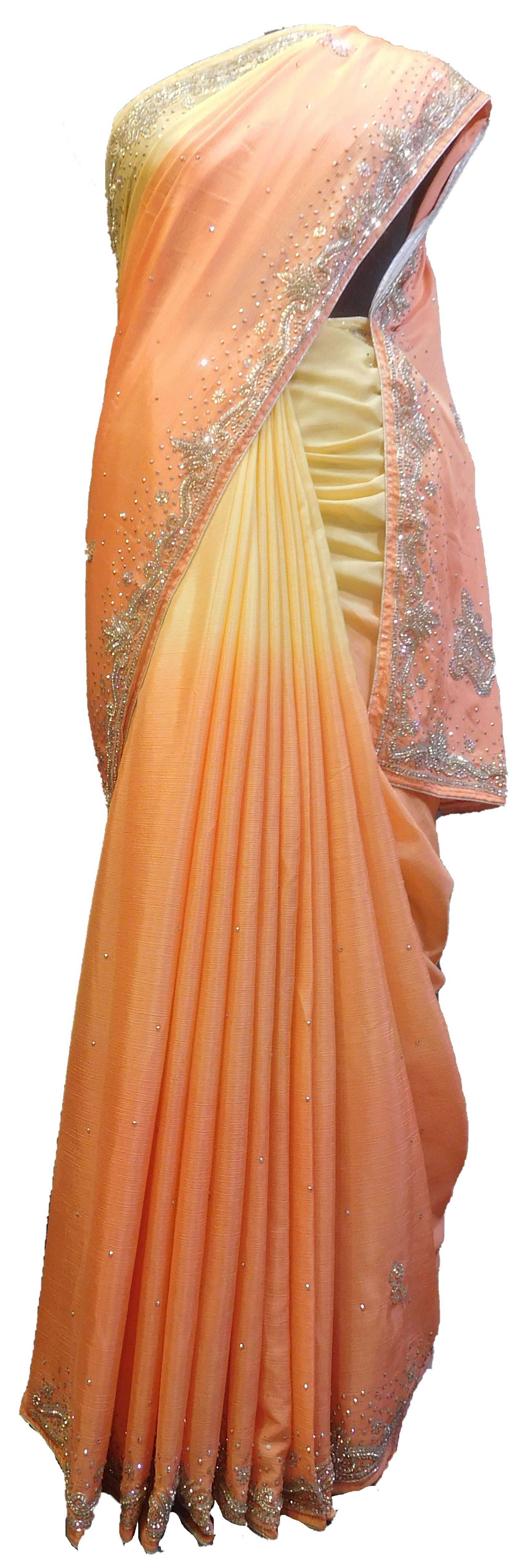 SMSAREE Peach & Yellow Designer Wedding Partywear Crepe (Chinon) Stone & Cutdana Hand Embroidery Work Bridal Saree Sari With Blouse Piece E696