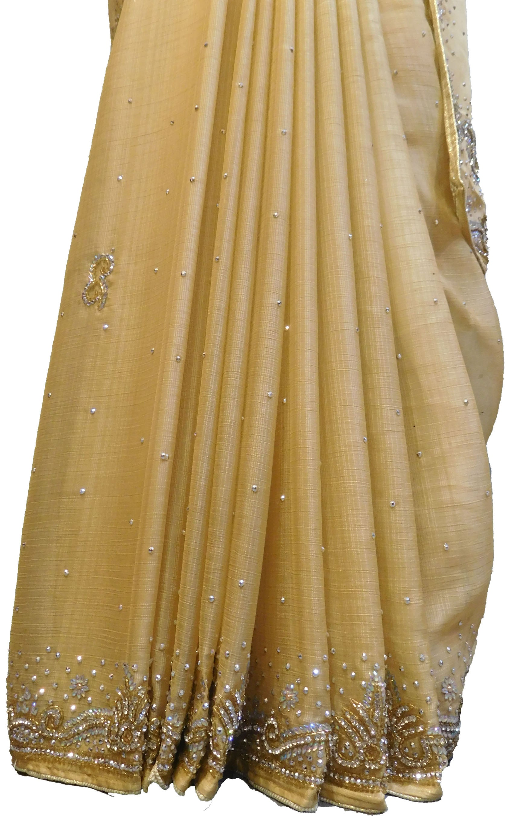 SMSAREE  yellow Designer Wedding Partywear Crepe (Chinon) Stone & Cutdana Hand Embroidery Work Bridal Saree Sari With Blouse Piece E697
