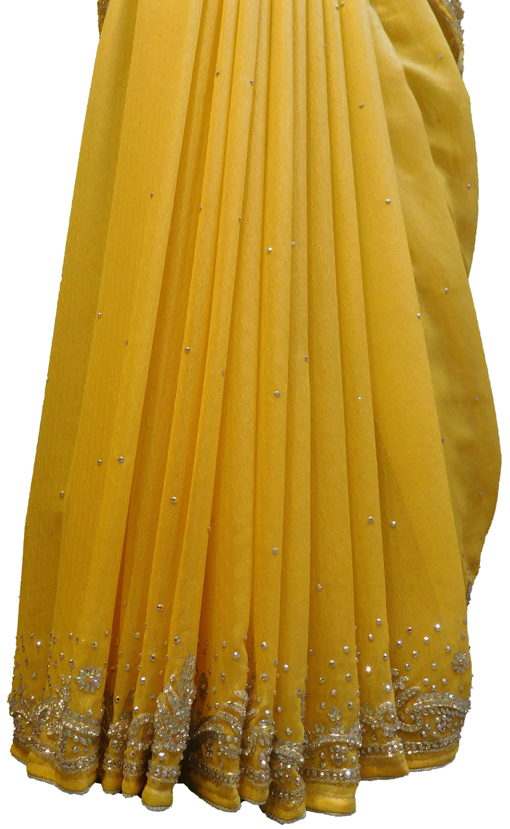 SMSAREE Yellow Designer Wedding Partywear Crepe (Chinon) Stone & Cutdana Hand Embroidery Work Bridal Saree Sari With Blouse Piece E698
