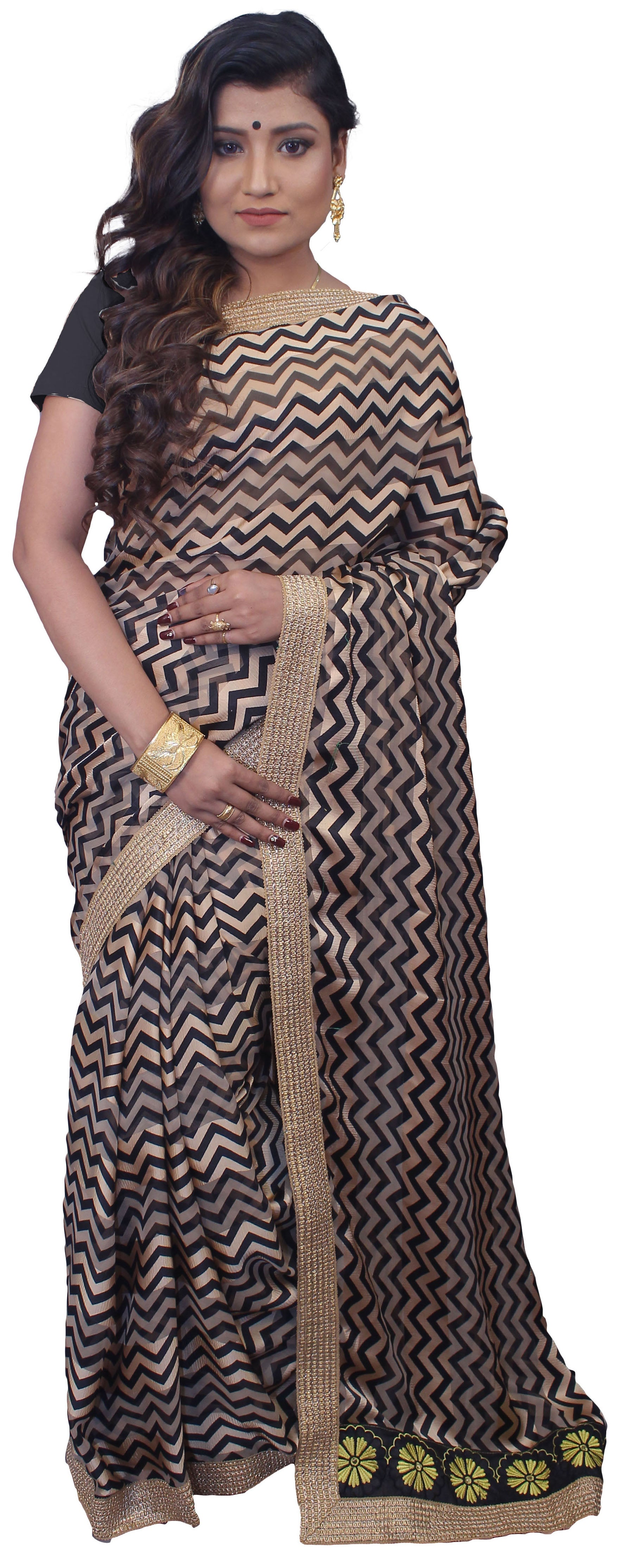 SMSAREE Beige & Black Designer Wedding Partywear Crepe Zari Hand Embroidery Work Bridal Saree Sari With Blouse Piece E709