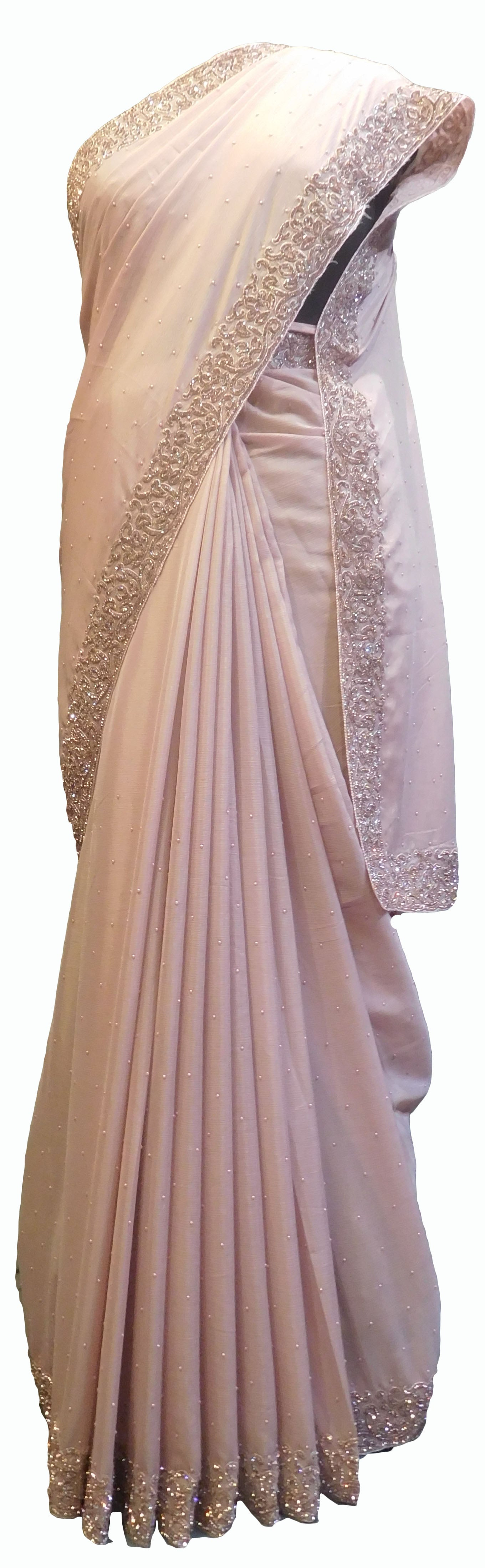 SMSAREE Lavender Designer Wedding Partywear Crepe (Chinon) Stone Beads & Pearl Hand Embroidery Work Bridal Saree Sari With Blouse Piece E714