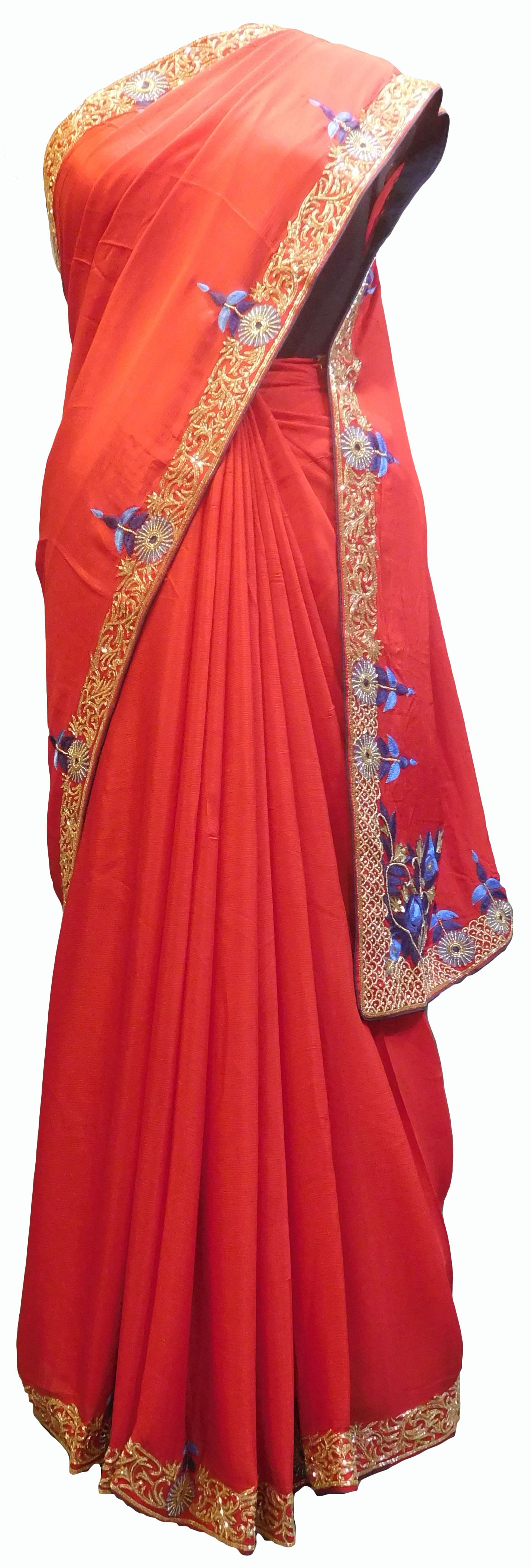 SMSAREE Red Designer Wedding Partywear Crepe (Chinon) Stone Thread Beads Sequence & Cutdana  Hand Embroidery Work Bridal Saree Sari With Blouse Piece E716
