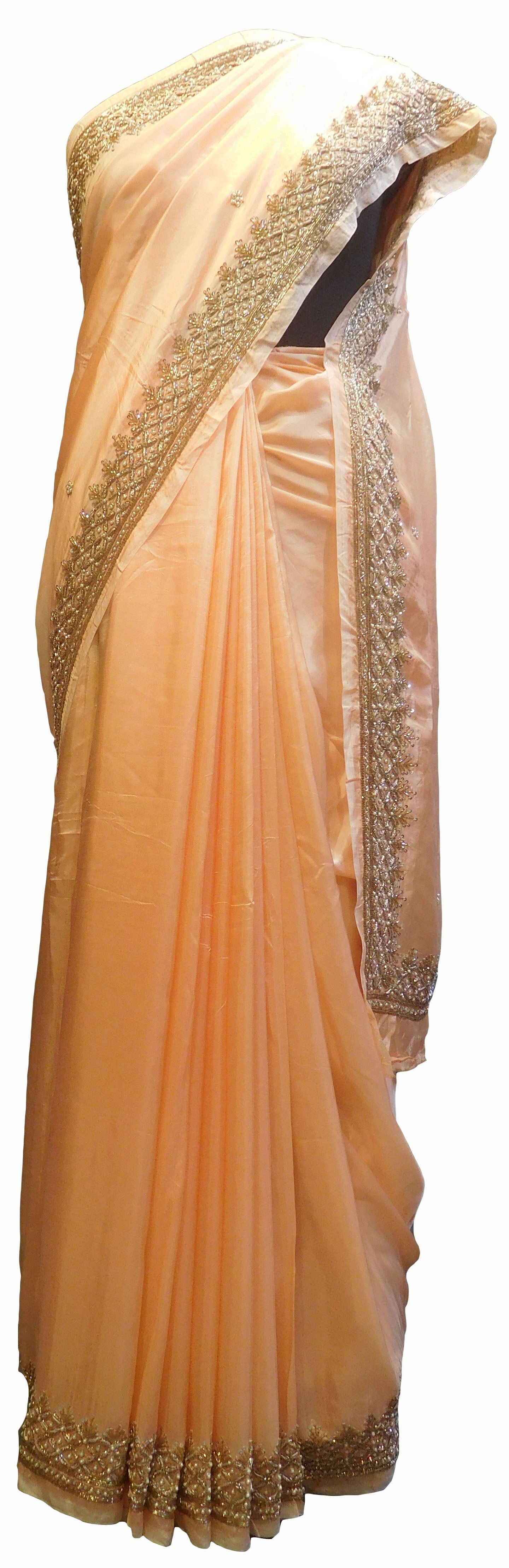 SMSAREE Peach Designer Wedding Partywear Satin Silk Pearl Bullion Sequence & Cutdana Hand Embroidery Work Bridal Saree Sari With Blouse Piece E720