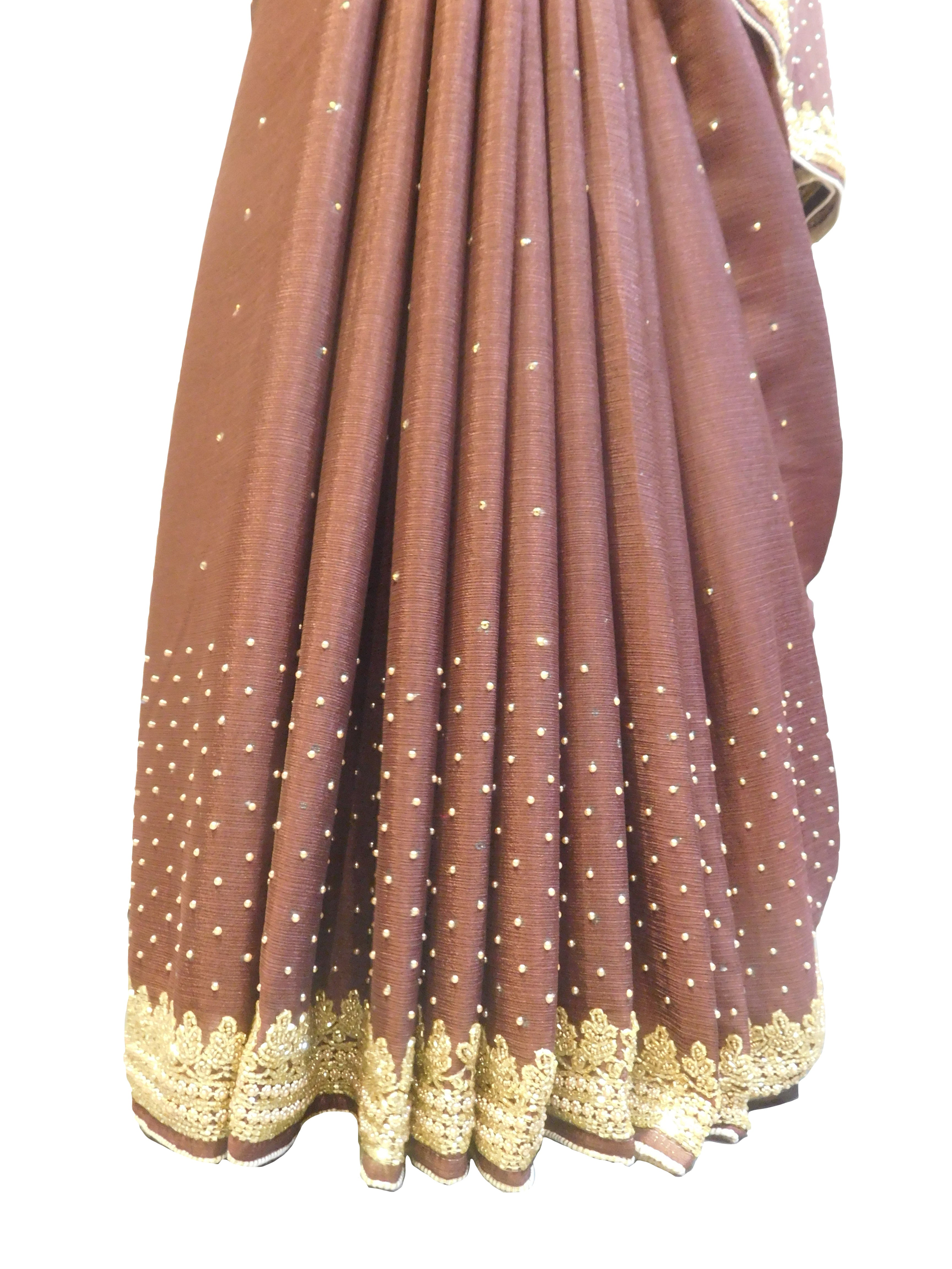 SMSAREE Coffee Brown Designer Wedding Partywear Crepe (Chinon) Beads Stone Pearl & Cutdana Hand Embroidery Work Bridal Saree Sari With Blouse Piece E723