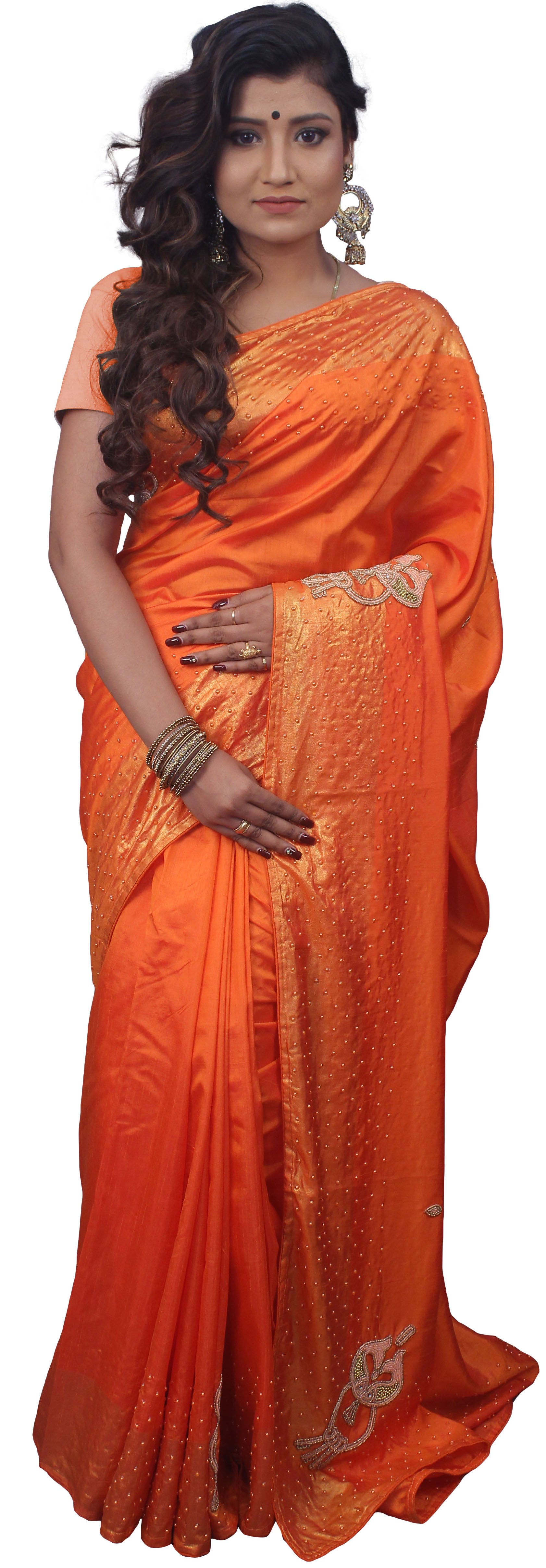 SMSAREE Orange Designer Wedding Partywear Silk Beads & Pearl Hand Embroidery Work Bridal Saree Sari With Blouse Piece E725