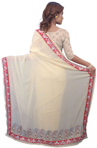 SMSAREE Cream Designer Wedding Partywear Georgette Stone Thread Zari Cutdana Gota Bullion & Beads Hand Embroidery Work Bridal Saree Sari With Blouse Piece E750