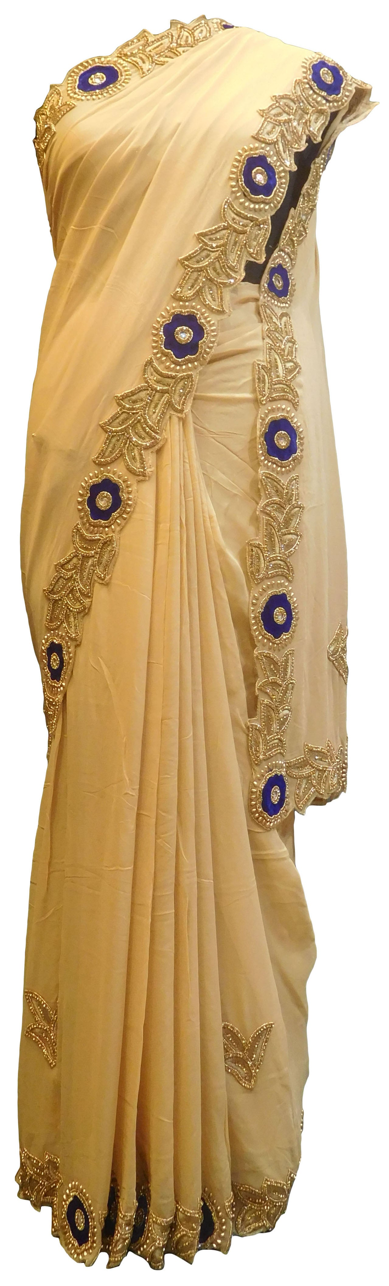 SMSAREE Beige Designer Wedding Partywear Crepe (Chinon) Stone Thread & Beads Hand Embroidery Work Bridal Saree Sari With Blouse Piece E753