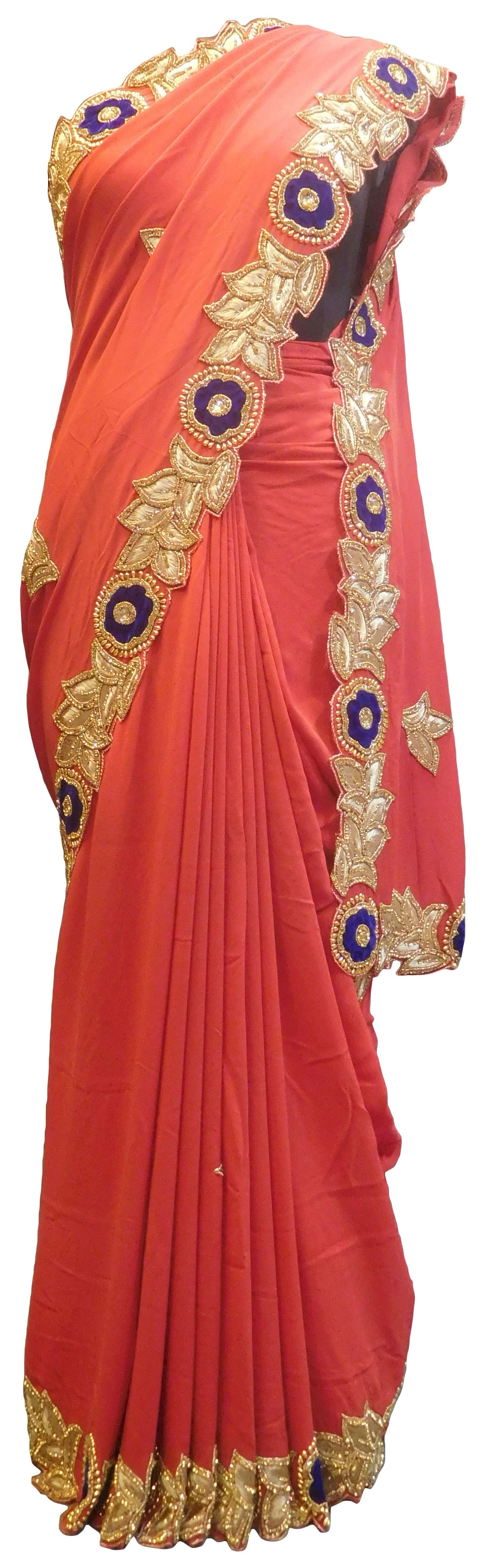 SMSAREE Red Designer Wedding Partywear Crepe (Chinon) Stone Thread & Beads Hand Embroidery Work Bridal Saree Sari With Blouse Piece E754