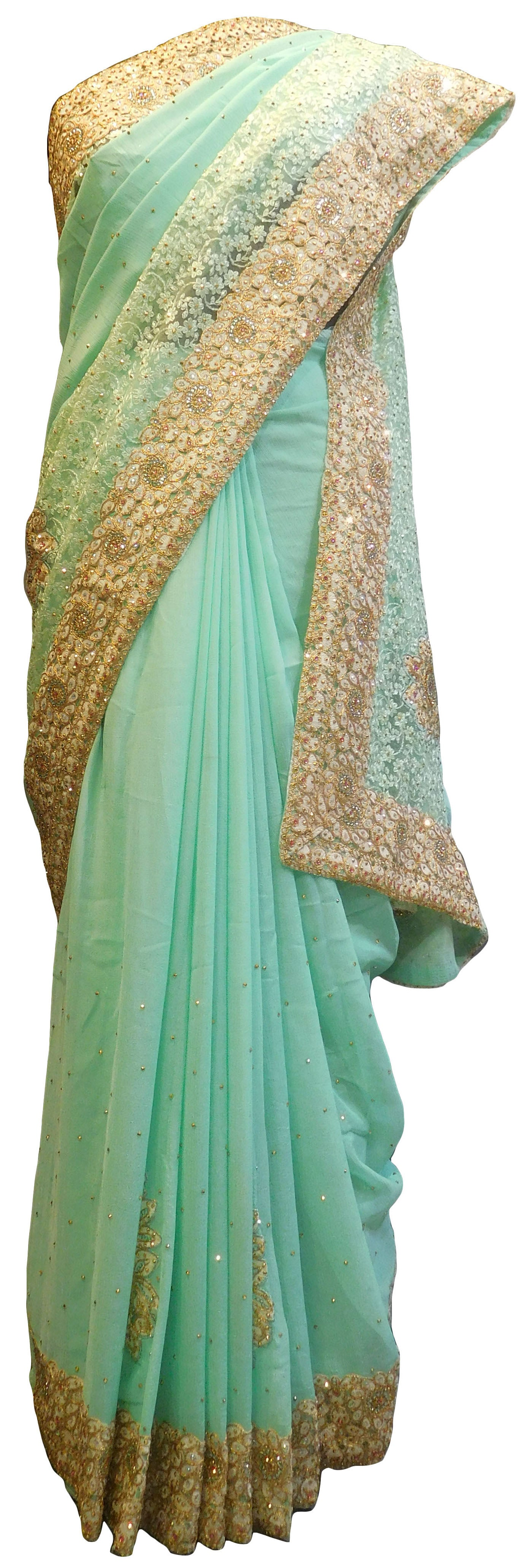SMSAREE Turquoise Designer Wedding Partywear Georgette Thread Stone Zari & Sequence Hand Embroidery Work Bridal Saree Sari With Blouse Piece E801