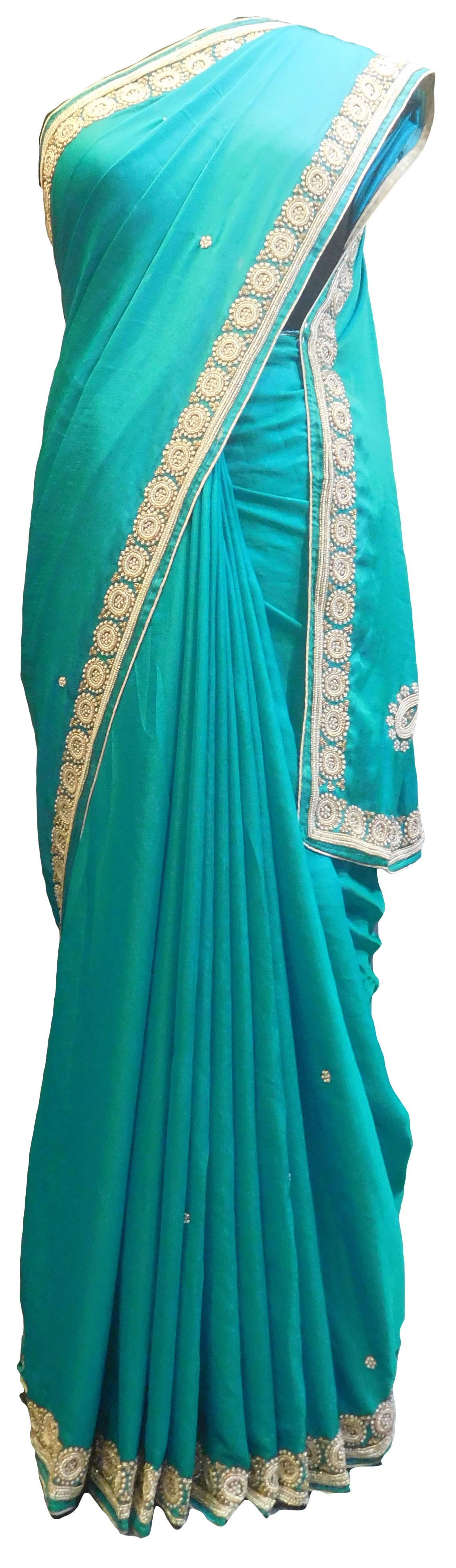 SMSAREE Turquoise Designer Wedding Partywear Satin Silk Beads Bullion & Pearl Hand Embroidery Work Bridal Saree Sari With Blouse Piece E806