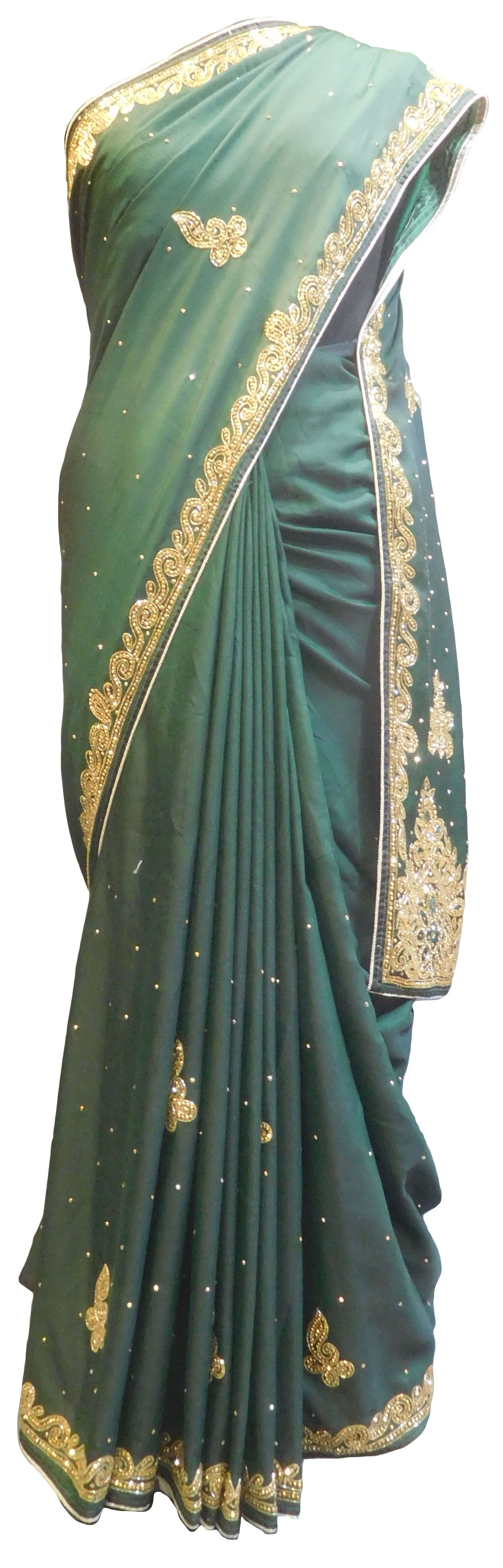 SMSAREE Green Designer Wedding Partywear Satin Silk Stone Thread & Cutdana Hand Embroidery Work Bridal Saree Sari With Blouse Piece E812