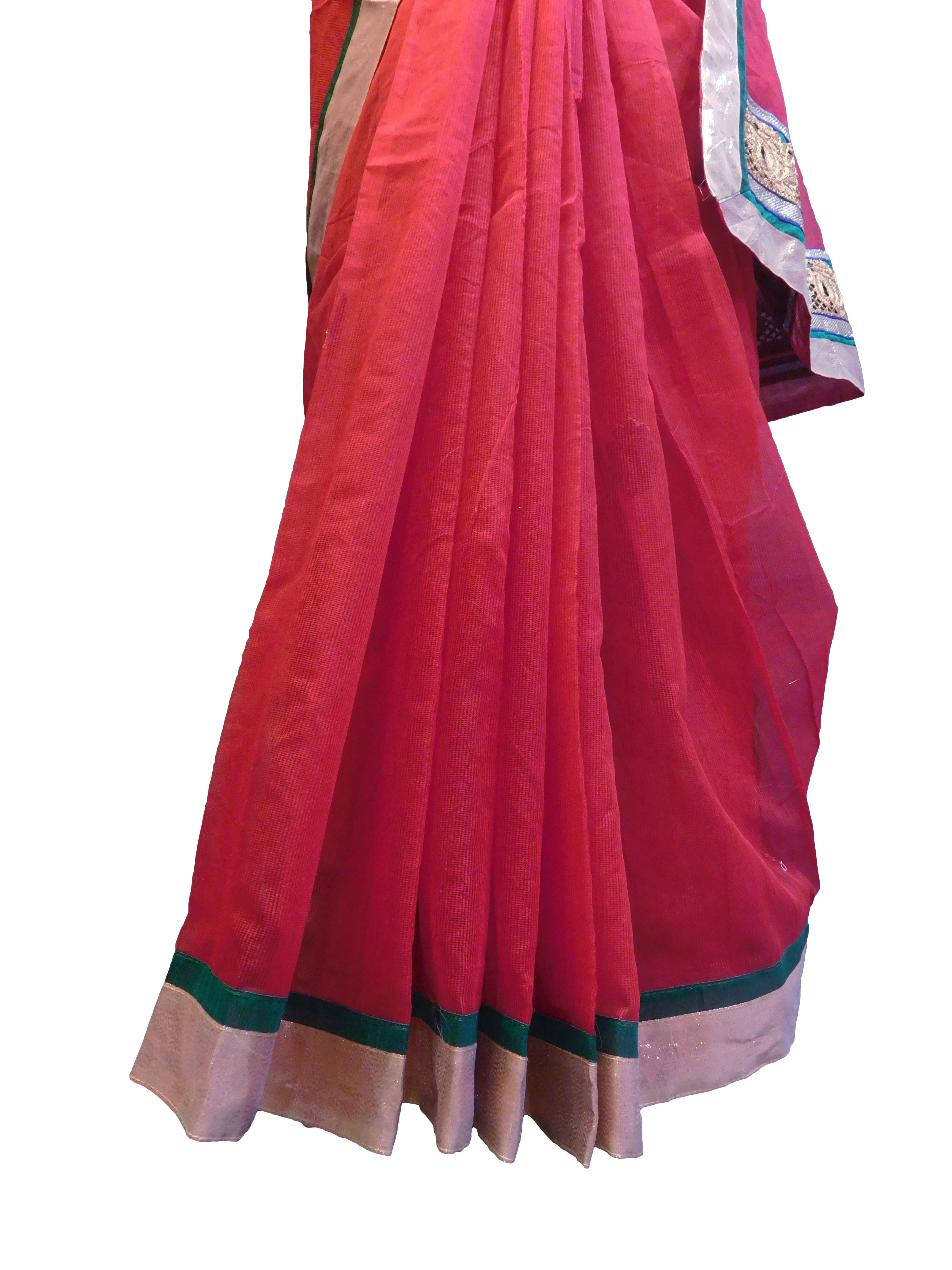 SMSAREE Red Designer Wedding Partywear Supernet (Cotton) Zari & Gota Hand Embroidery Work Bridal Saree Sari With Blouse Piece E822
