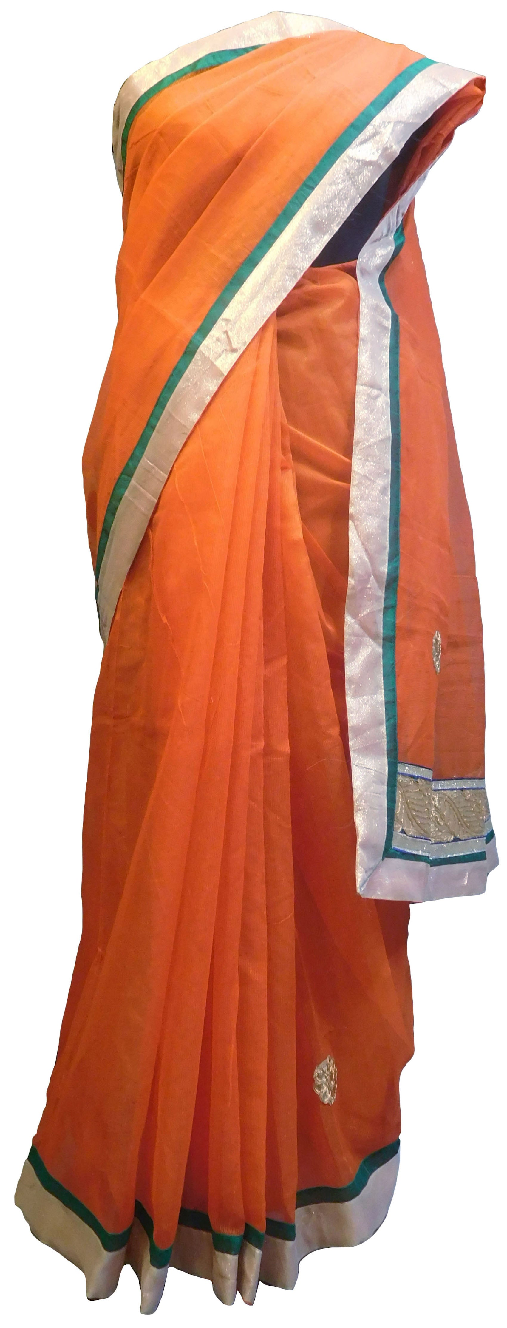 SMSAREE Orange Designer Wedding Partywear Supernet (Cotton) Zari & Gota Hand Embroidery Work Bridal Saree Sari With Blouse Piece E824