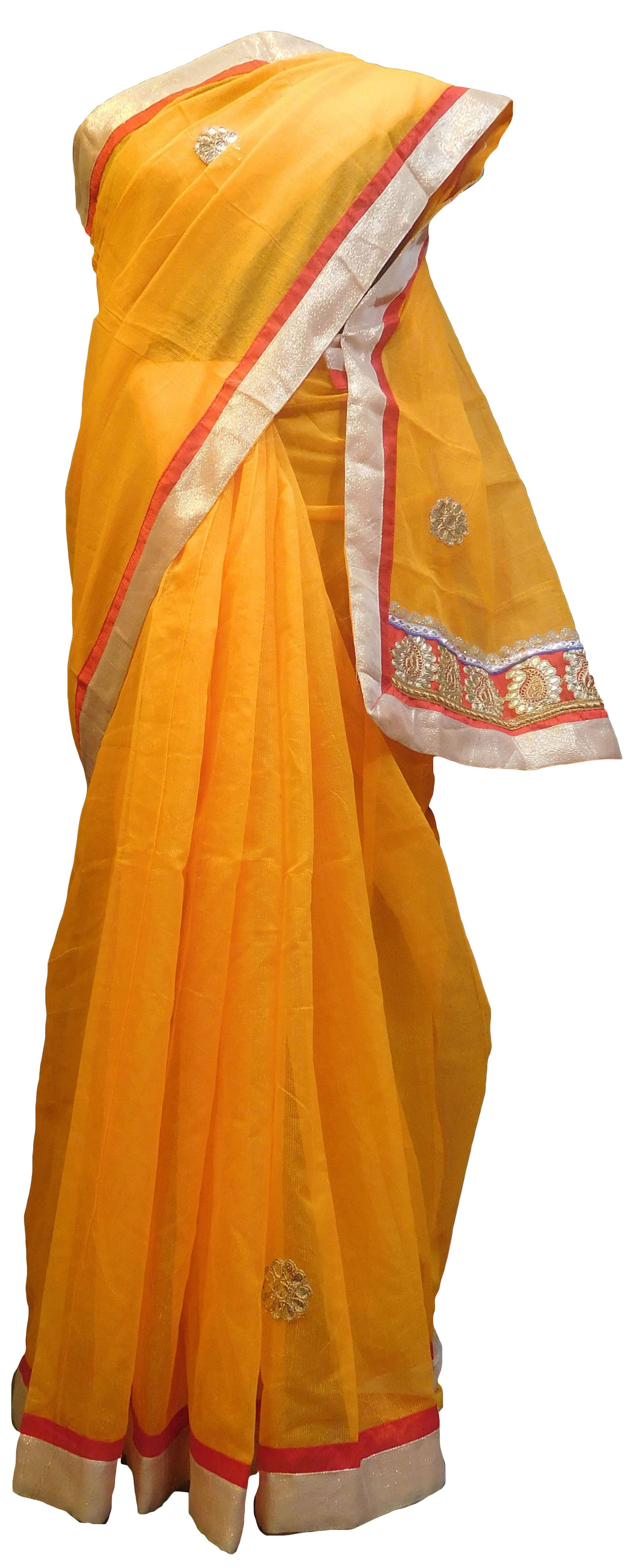 SMSAREE Yellow Designer Wedding Partywear Supernet (Cotton) Zari & Gota Hand Embroidery Work Bridal Saree Sari With Blouse Piece E826
