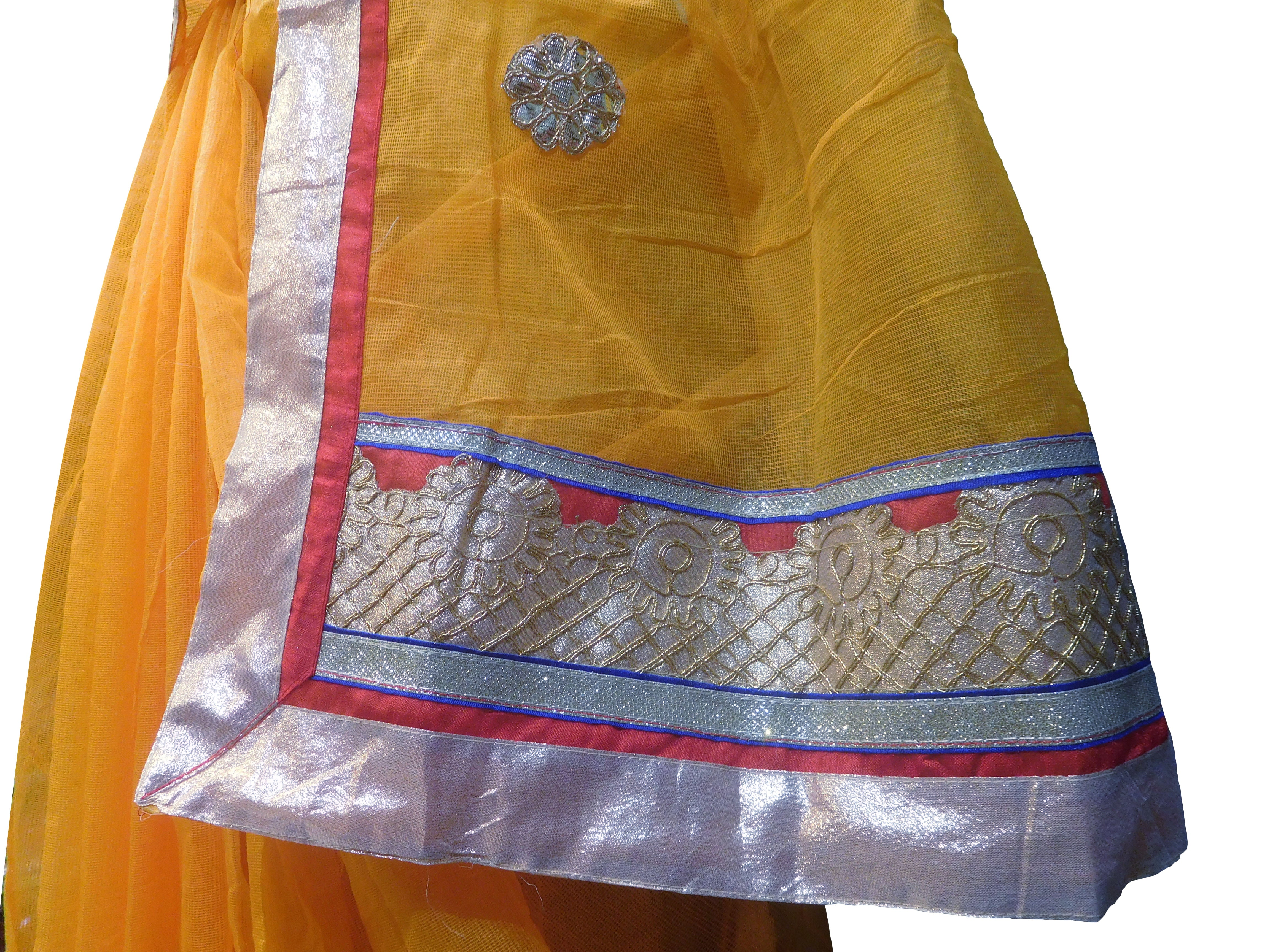 SMSAREE Yellow Designer Wedding Partywear Supernet (Cotton) Zari & Gota Hand Embroidery Work Bridal Saree Sari With Blouse Piece E827