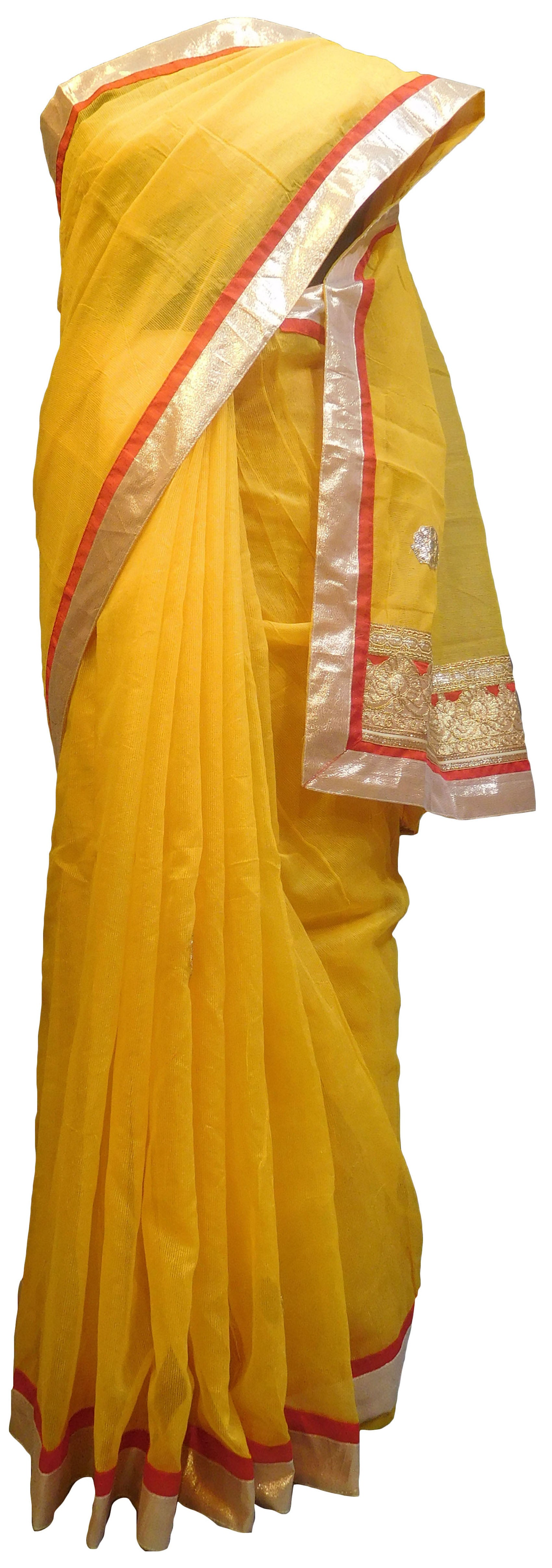 SMSAREE Yellow Designer Wedding Partywear Supernet (Cotton) Zari & Gota Hand Embroidery Work Bridal Saree Sari With Blouse Piece E833