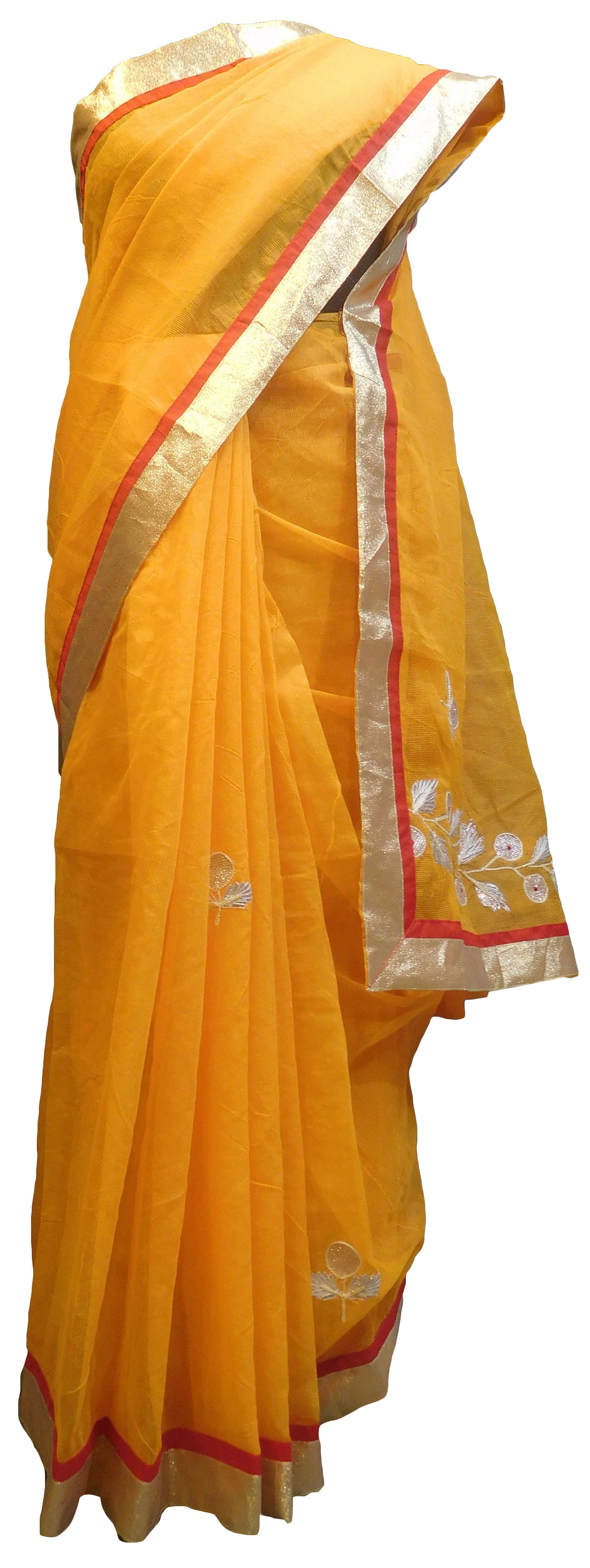 SMSAREE Yellow Designer Wedding Partywear Supernet (Cotton) Zari & Gota Hand Embroidery Work Bridal Saree Sari With Blouse Piece E834