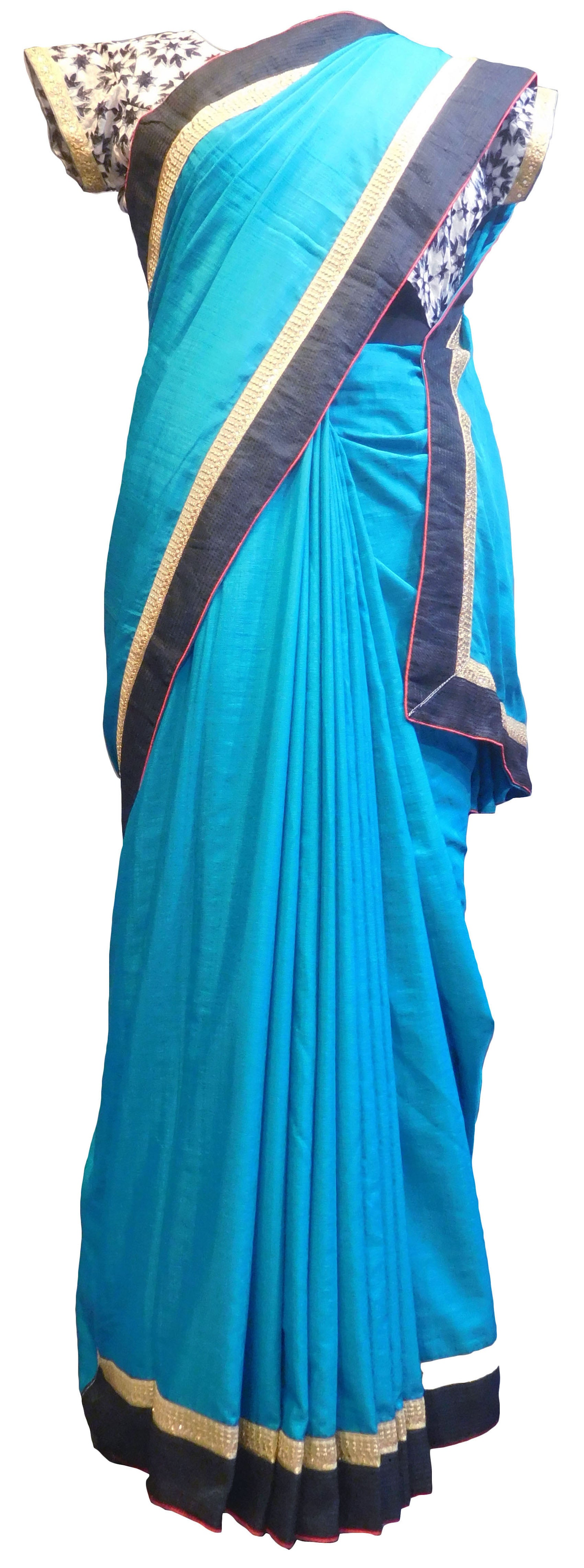 SMSAREE Blue Designer Wedding Partywear Silk Thread Zari & Stone Hand Embroidery Work Bridal Saree Sari With Blouse Piece E843