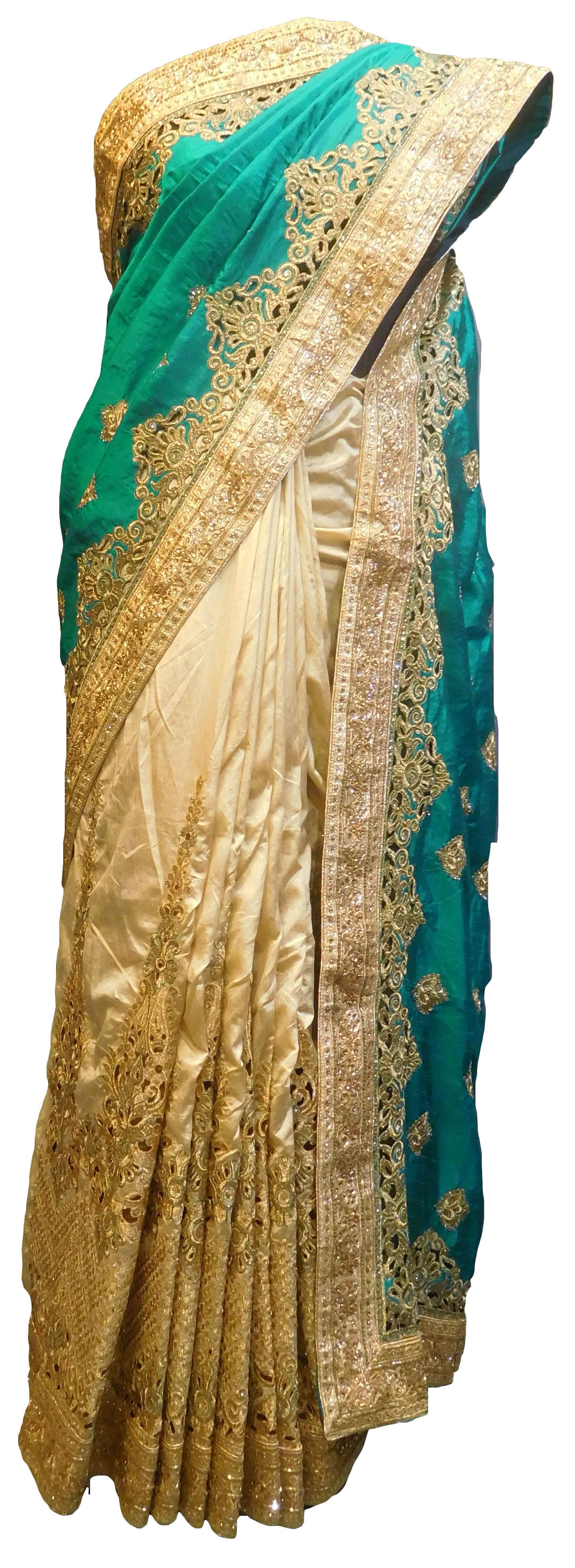 SMSAREE Turquoise & Cream Designer Wedding Partywear Silk Cutdana Zari & Stone Hand Embroidery Work Bridal Saree Sari With Blouse Piece E844
