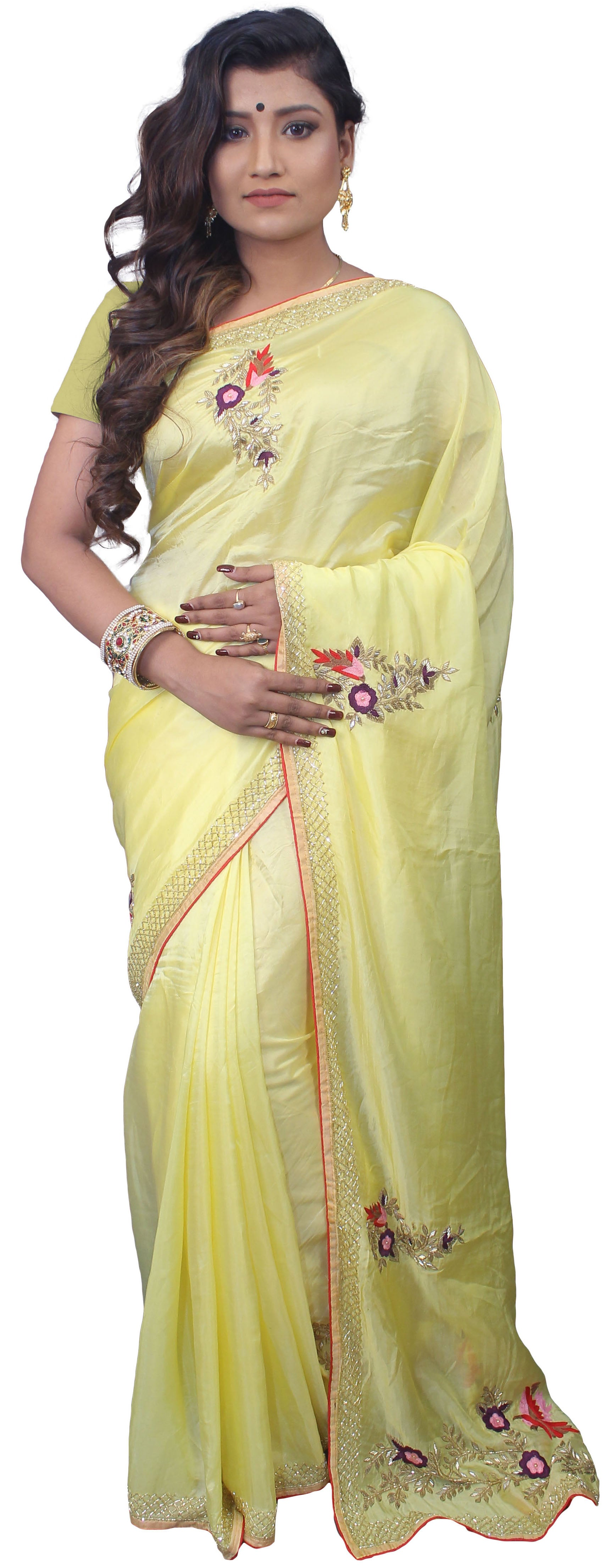 SMSAREE Yellow Designer Wedding Partywear Satin Silk Cutdana Thread Zari & Pearl Hand Embroidery Work Bridal Saree Sari With Blouse Piece E847