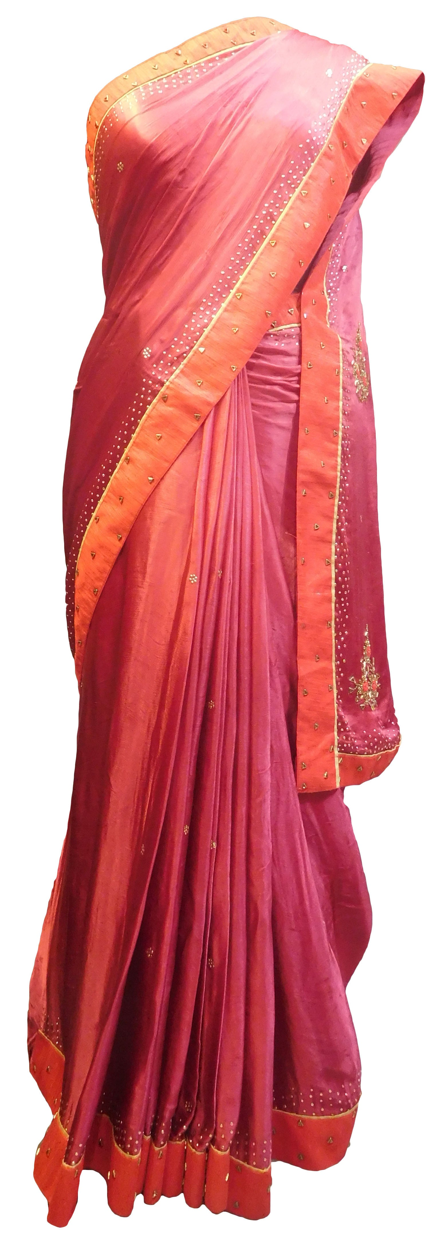 SMSAREE Wine Designer Wedding Partywear Crepe (Chinon) Thread & Stone Hand Embroidery Work Bridal Saree Sari With Blouse Piece E848