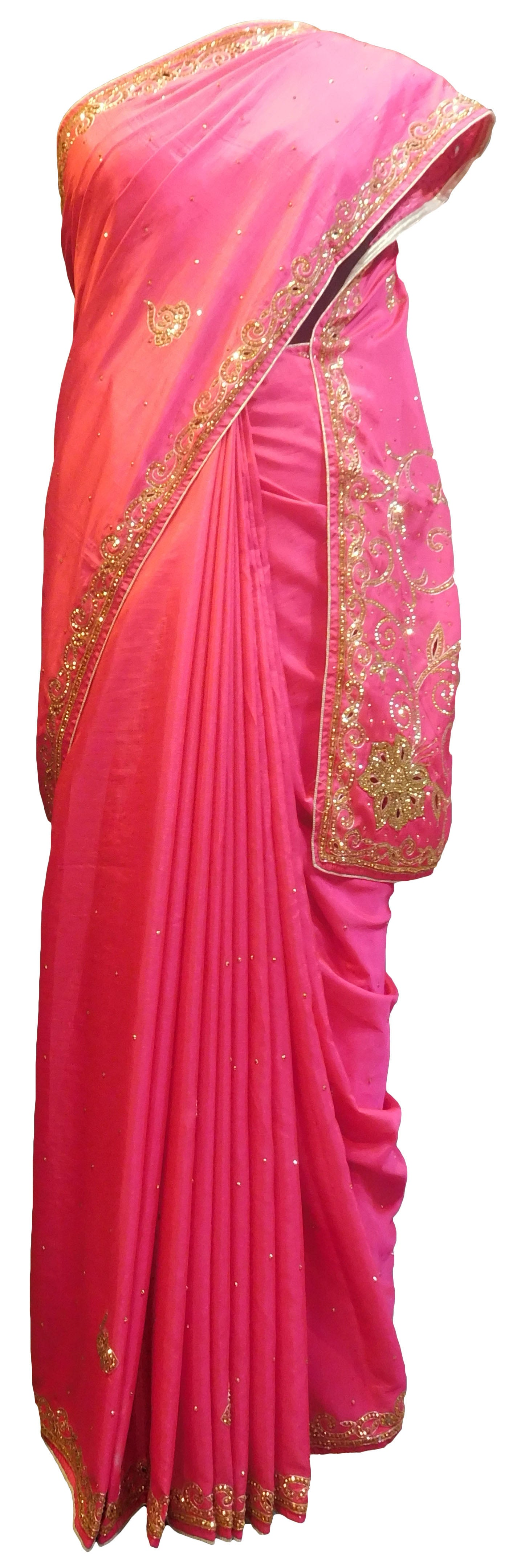 SMSAREE Pink Designer Wedding Partywear Silk Cutdana Zari & Stone Hand Embroidery Work Bridal Saree Sari With Blouse Piece E849
