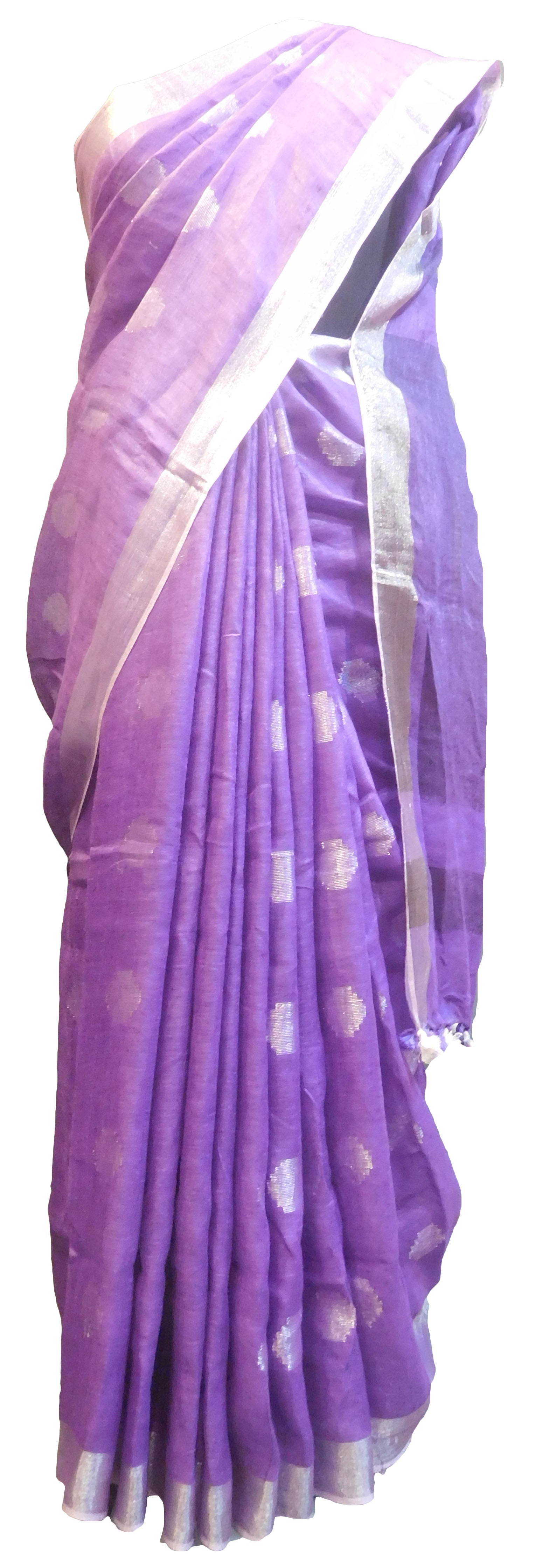 SMSAREE Purple Designer Wedding Partywear Handloom Linen Thread & Zari Hand Embroidery Work Bridal Saree Sari With Blouse Piece E852