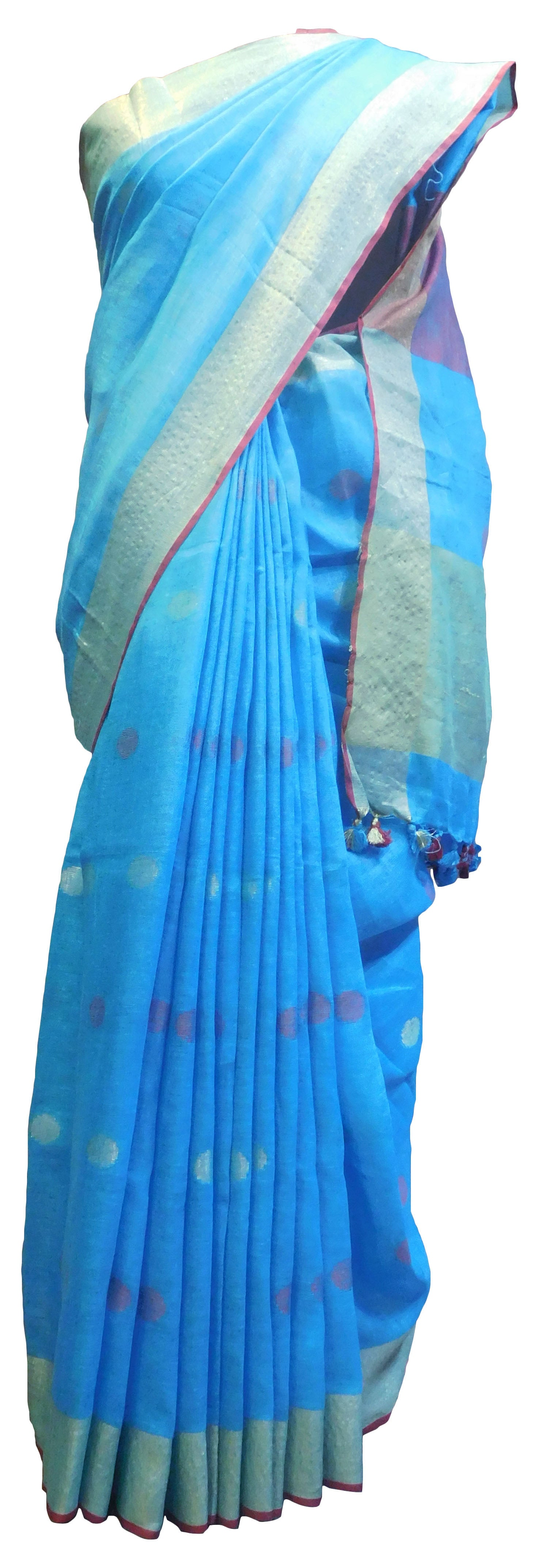 SMSAREE Blue Designer Wedding Partywear Handloom Linen Thread & Zari Hand Embroidery Work Bridal Saree Sari With Blouse Piece E854
