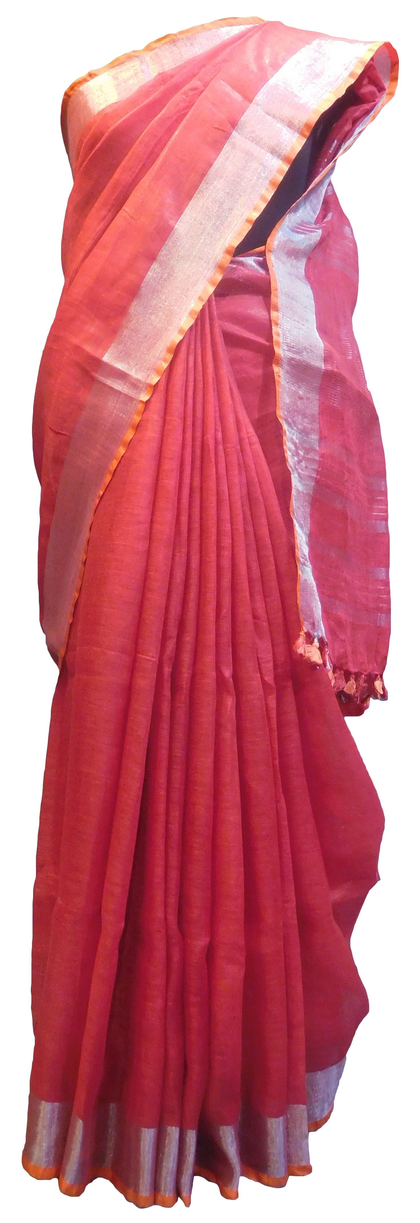 SMSAREE Red Designer Wedding Partywear Handloom Linen Thread & Zari Hand Embroidery Work Bridal Saree Sari With Blouse Piece E855