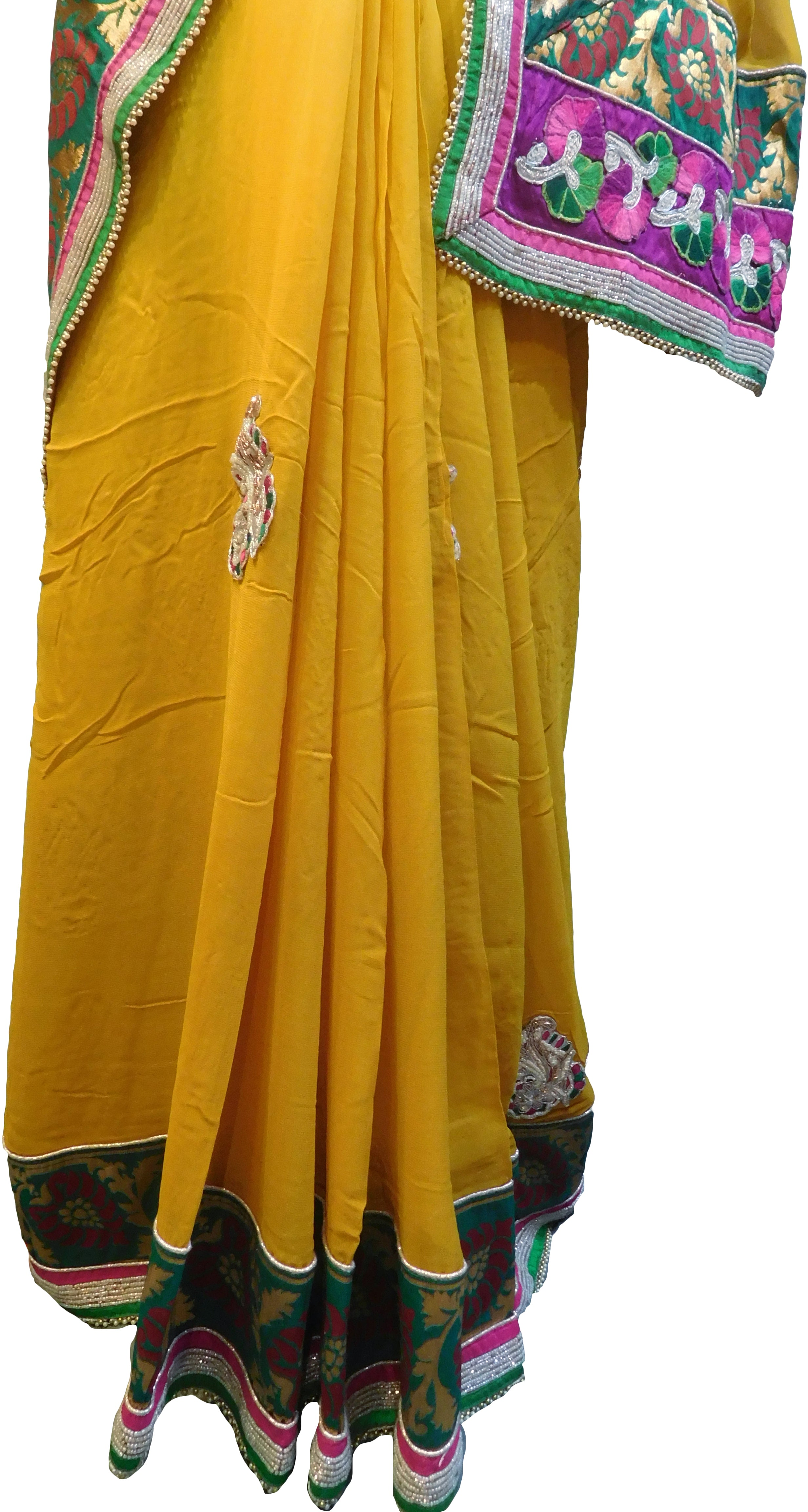 SMSAREE Yellow Designer Wedding Partywear Georgette (Viscos) Thread Zari Beads Pearl Bullion & Stone Hand Embroidery Work Bridal Saree Sari With Blouse Piece E859
