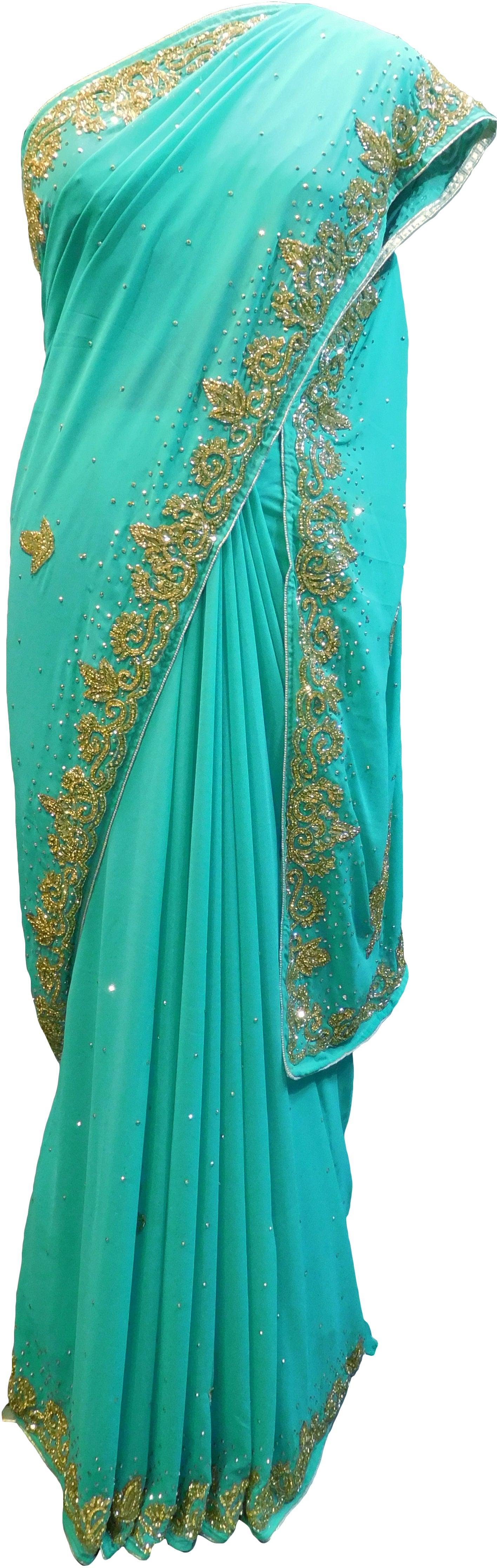 SMSAREE Turquoise Designer Wedding Partywear Georgette Thread Cutdana & Stone Hand Embroidery Work Bridal Saree Sari With Blouse Piece E866