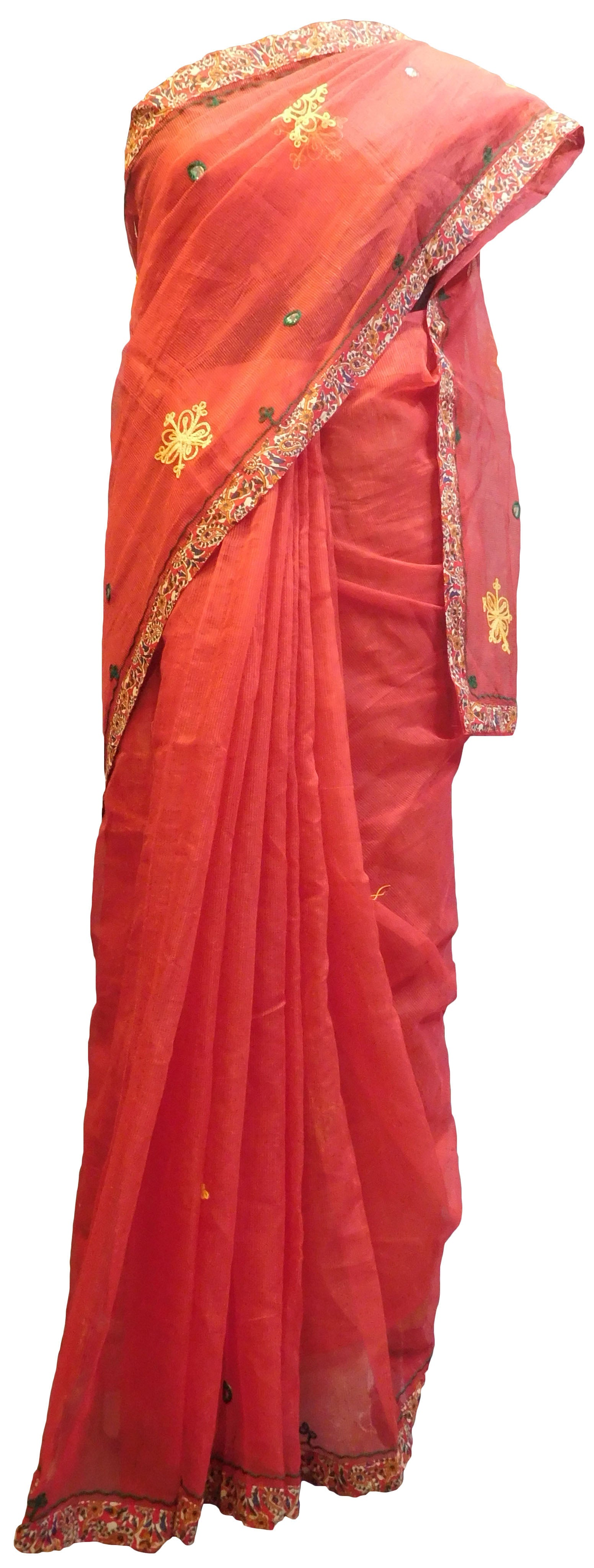 SMSAREE Red Designer Wedding Partywear Supernet (Cotton) Thread Hand Embroidery Work Bridal Saree Sari With Blouse Piece E916