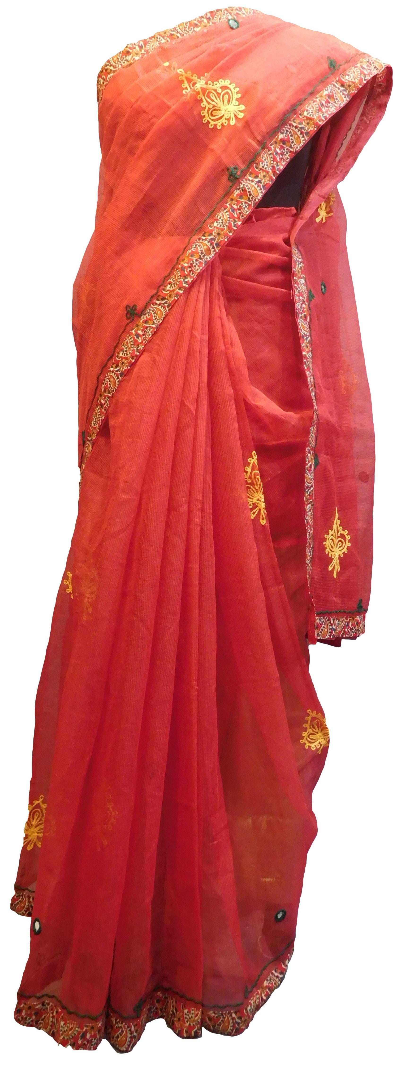 SMSAREE Red Designer Wedding Partywear Supernet (Cotton) Thread Hand Embroidery Work Bridal Saree Sari With Blouse Piece E922