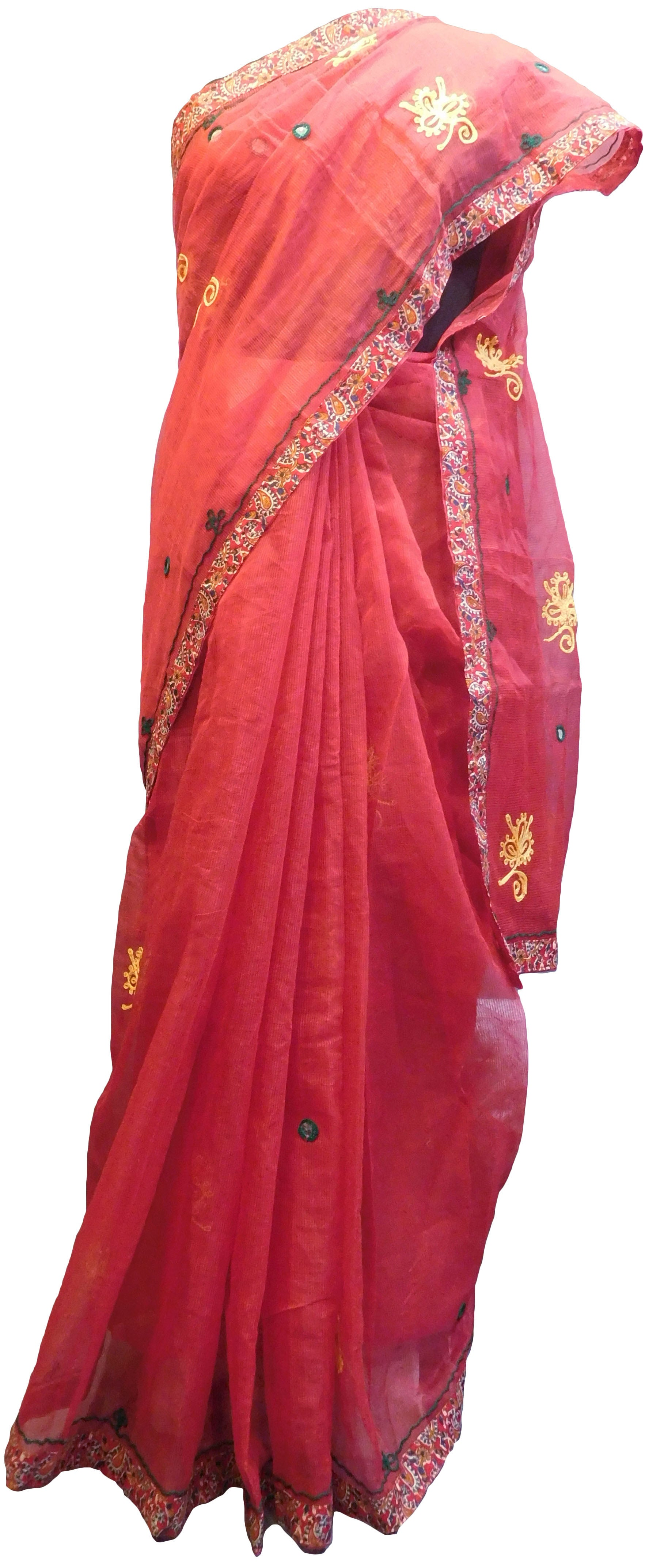 SMSAREE Red Designer Wedding Partywear Supernet (Cotton) Thread Hand Embroidery Work Bridal Saree Sari With Blouse Piece E926
