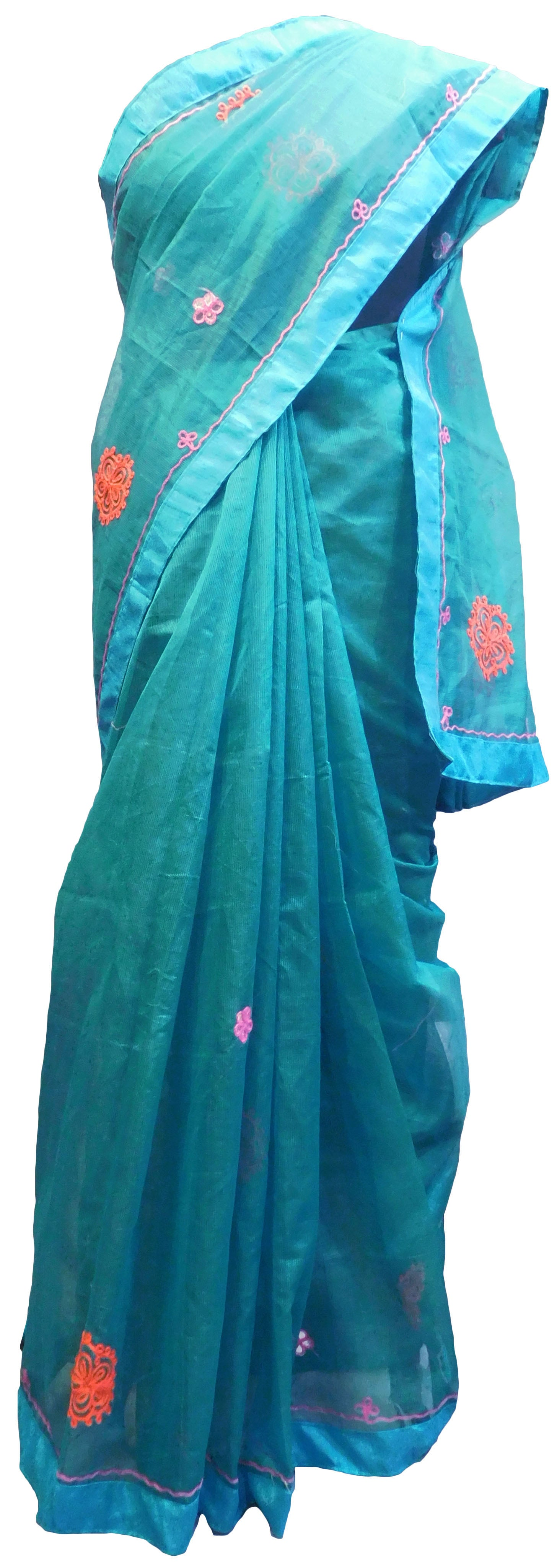 SMSAREE Turquoise Designer Wedding Partywear Supernet (Cotton) Thread Hand Embroidery Work Bridal Saree Sari With Blouse Piece E927