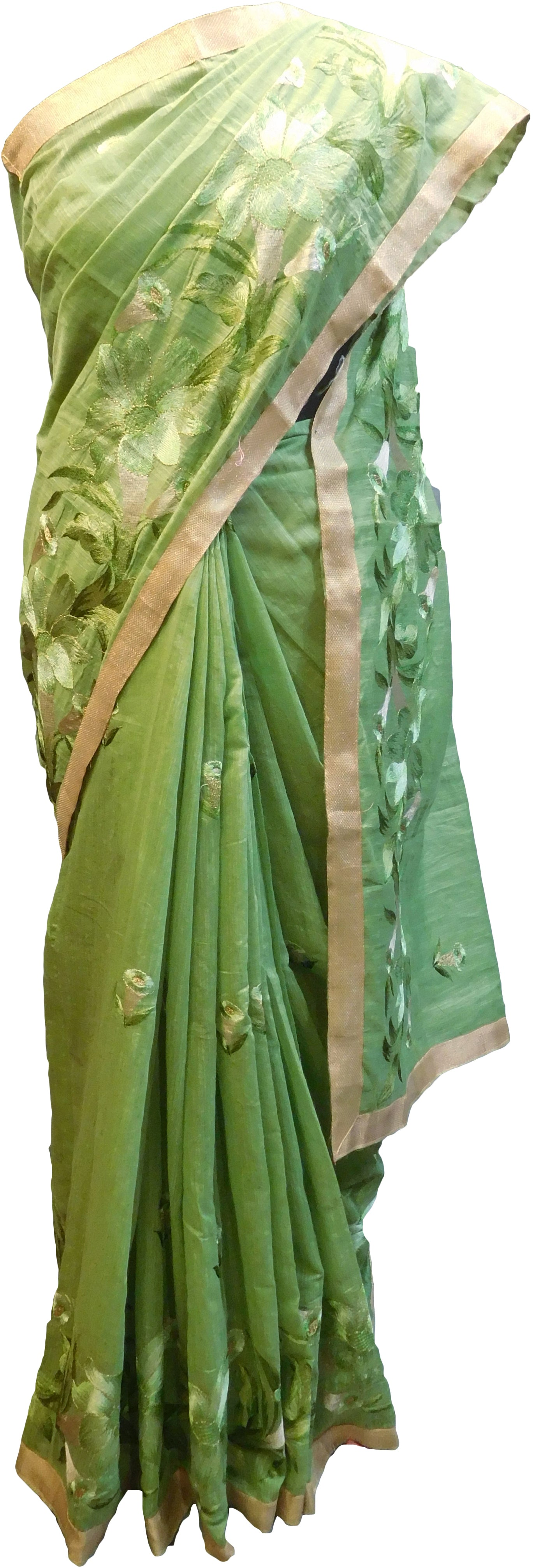 SMSAREE Green Designer Wedding Partywear Cotton (Chanderi) Thread & Zari Hand Embroidery Work Bridal Saree Sari With Blouse Piece E960