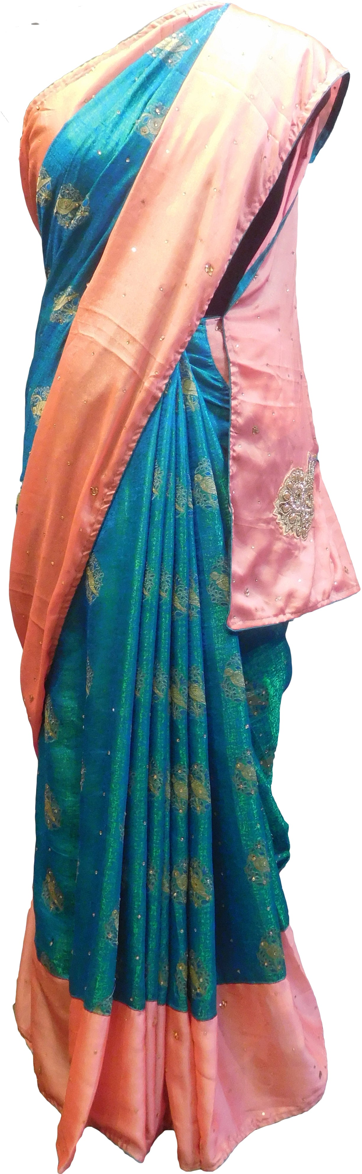 SMSAREE Peach & Turquoise Designer Wedding Partywear Silk Pearl Beads Bullion & Stone Hand Embroidery Work Bridal Saree Sari With Blouse Piece E964