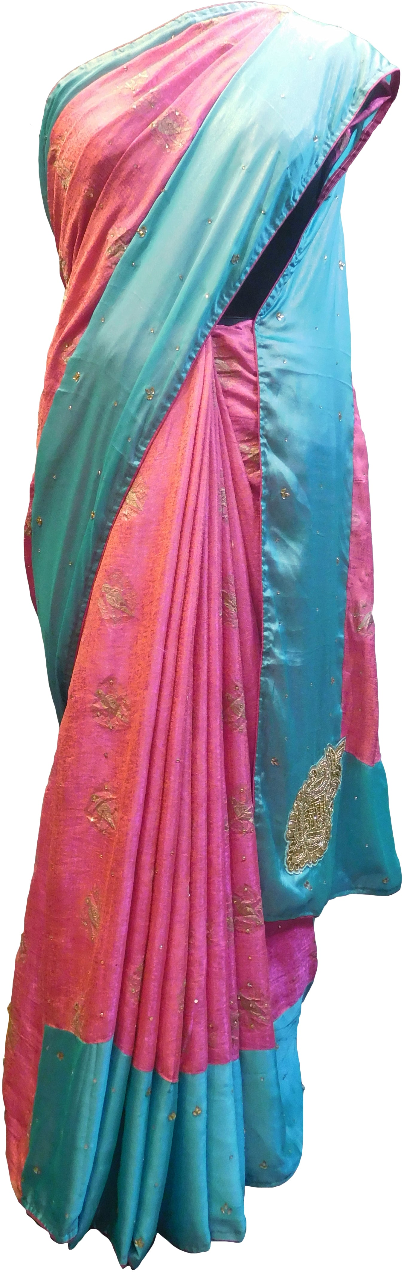 SMSAREE Pink & Turquoise Designer Wedding Partywear Silk Pearl Beads Bullion & Stone Hand Embroidery Work Bridal Saree Sari With Blouse Piece E965