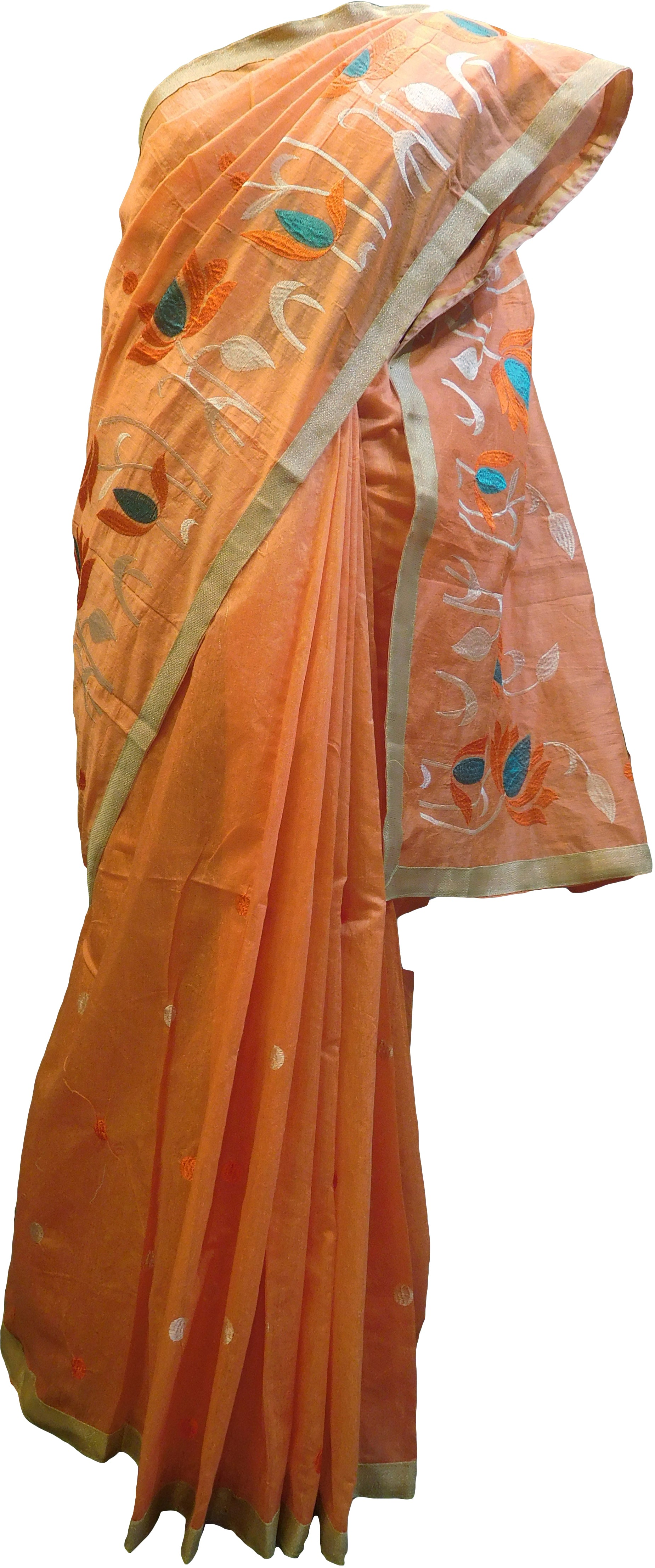 SMSAREE Peach Designer Wedding Partywear Cotton (Chanderi) Thread & Zari Hand Embroidery Work Bridal Saree Sari With Blouse Piece E967