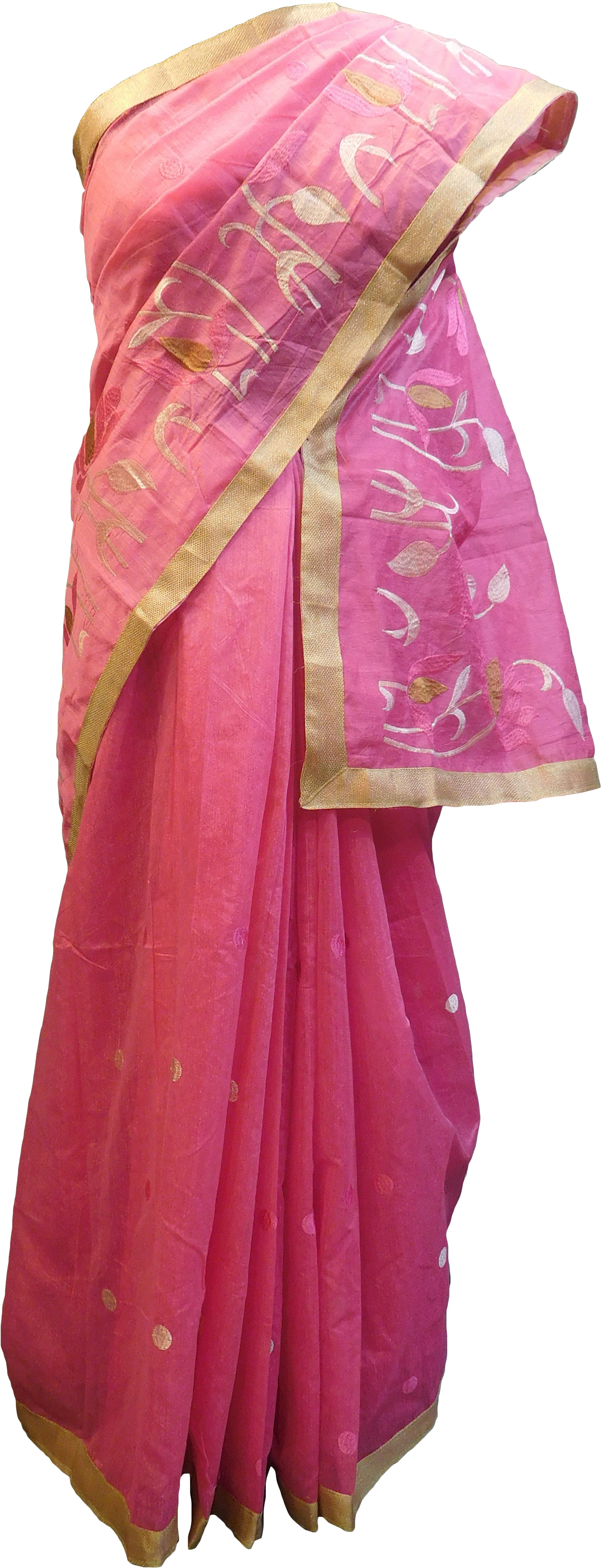 SMSAREE Pink Designer Wedding Partywear Cotton (Chanderi) Thread & Zari Hand Embroidery Work Bridal Saree Sari With Blouse Piece E968