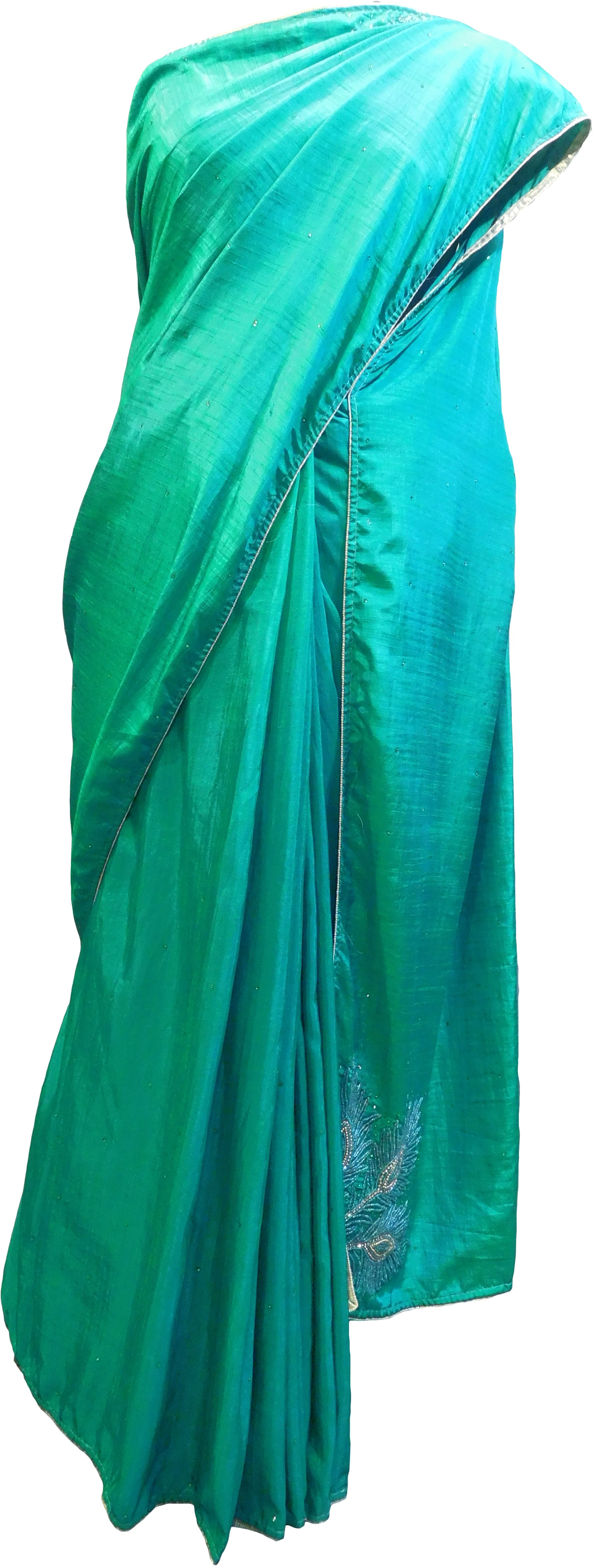SMSAREE Turquoise Designer Wedding Partywear Silk Cutdana Bullion Beads & Stone Hand Embroidery Work Bridal Saree Sari With Blouse Piece E969