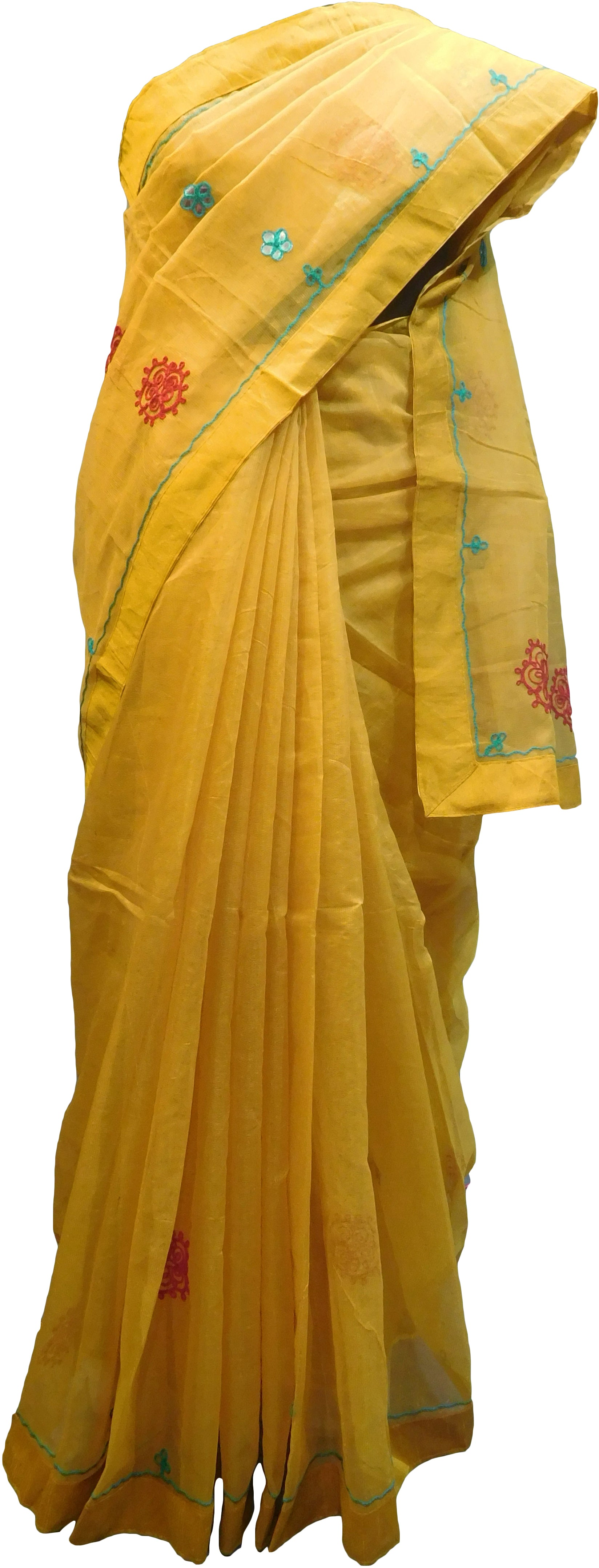 SMSAREE Yellow Designer Wedding Partywear Supernet (Cotton) Thread Hand Embroidery Work Bridal Saree Sari With Blouse Piece F016