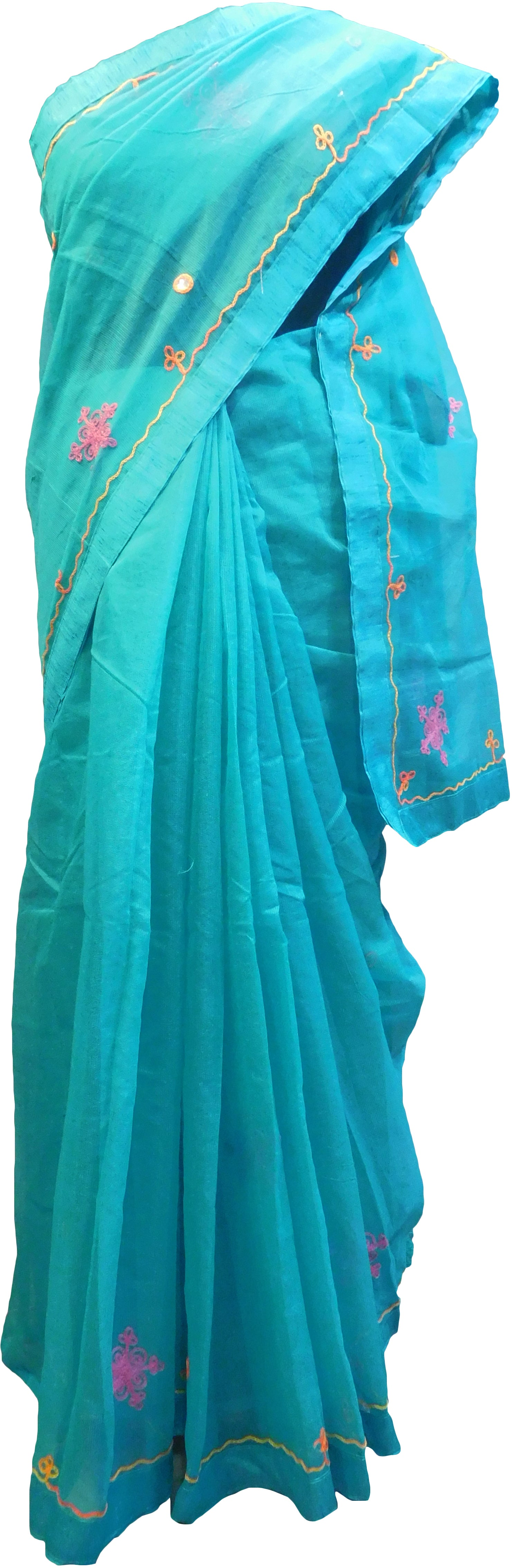 SMSAREE Turquoise Designer Wedding Partywear Supernet (Cotton) Thread Hand Embroidery Work Bridal Saree Sari With Blouse Piece F017