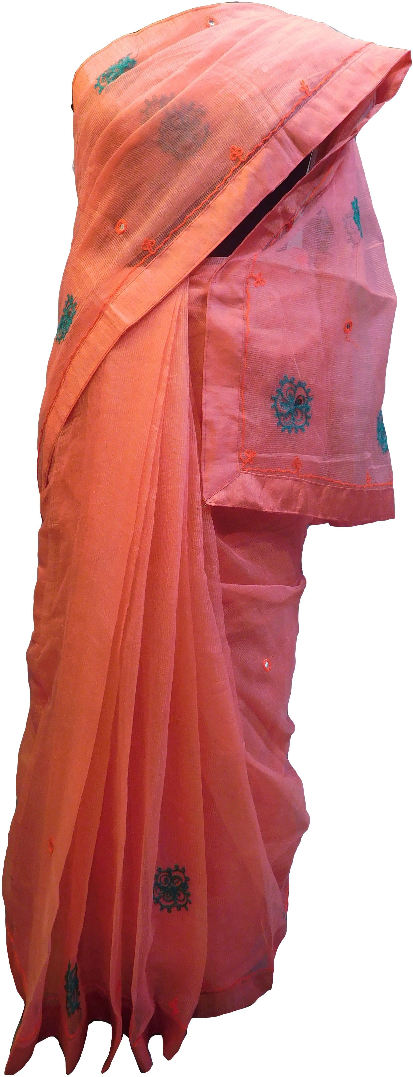 SMSAREE Peach Designer Wedding Partywear Supernet (Cotton) Thread Hand Embroidery Work Bridal Saree Sari With Blouse Piece F024