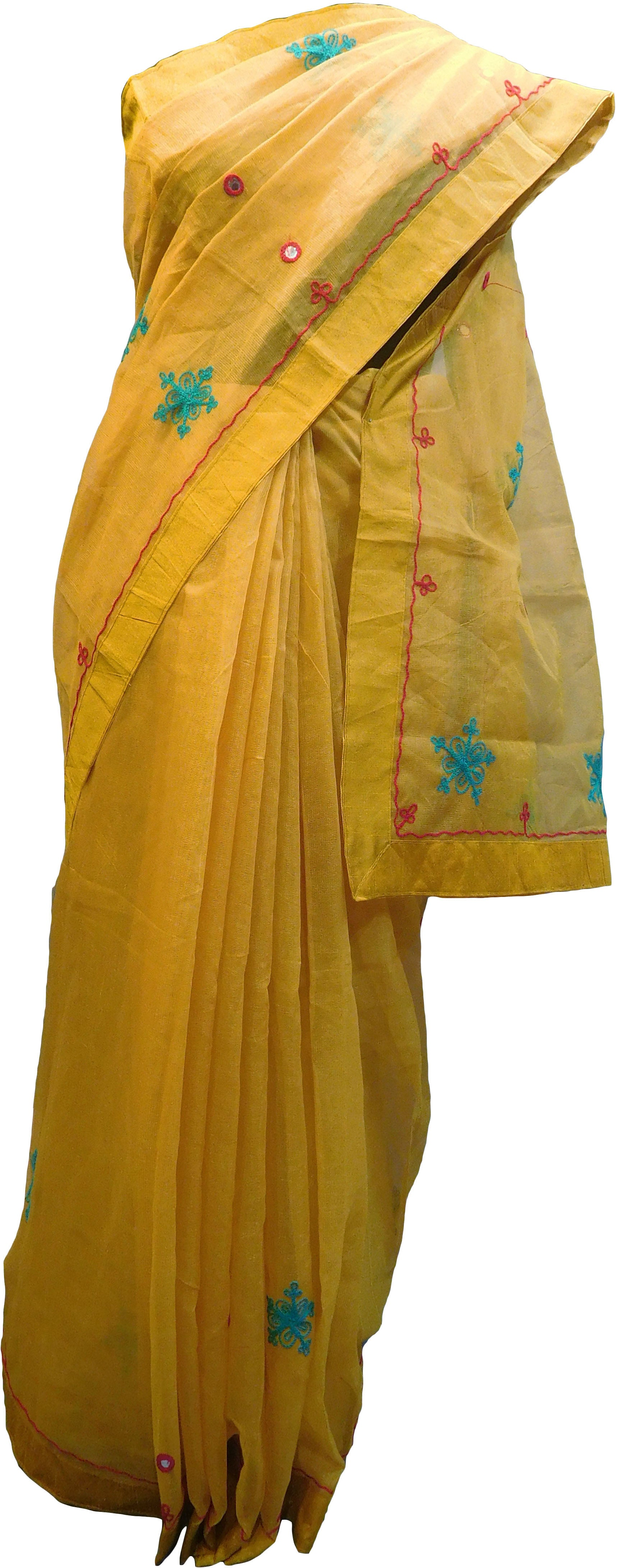 SMSAREE Yellow Designer Wedding Partywear Supernet (Cotton) Thread Hand Embroidery Work Bridal Saree Sari With Blouse Piece F028